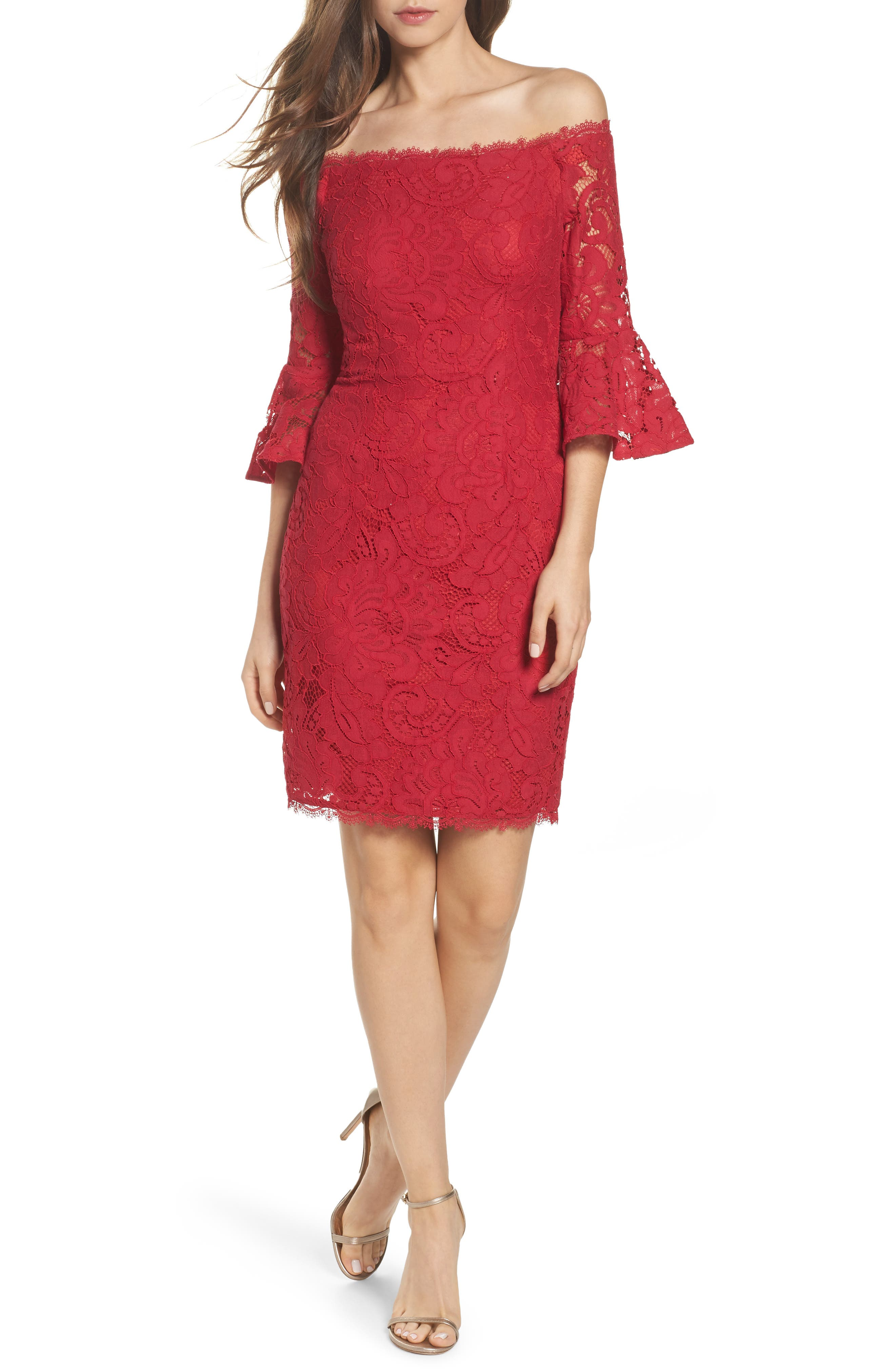 Off the Shoulder Lace Sheath Dress,                             Main thumbnail 1, color,