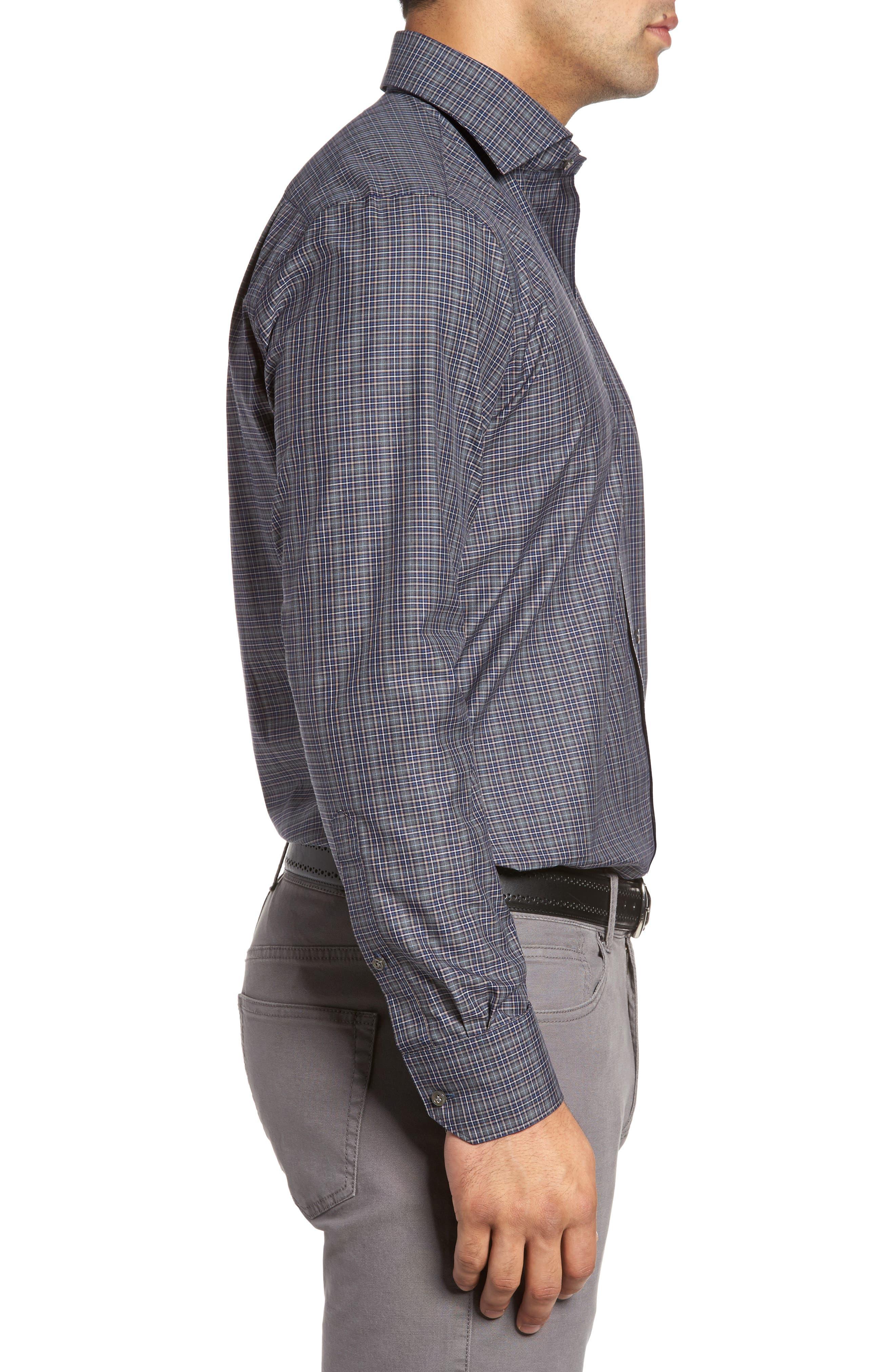 Meadows Mélange Regular Fit Check Sport Shirt,                             Alternate thumbnail 3, color,