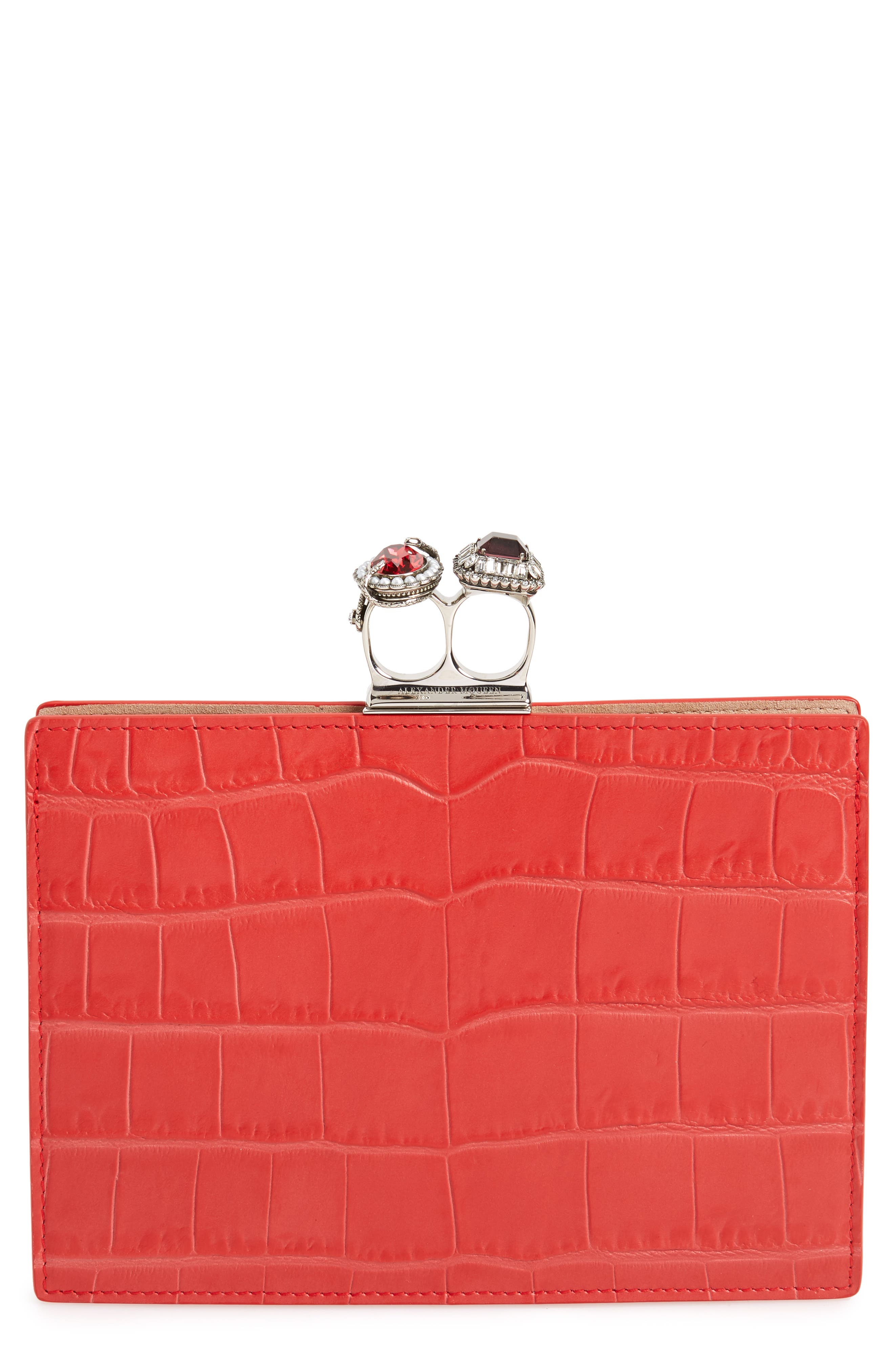 Croc Embossed Calfskin Leather Double Ring Clutch, Main, color, LUST RED
