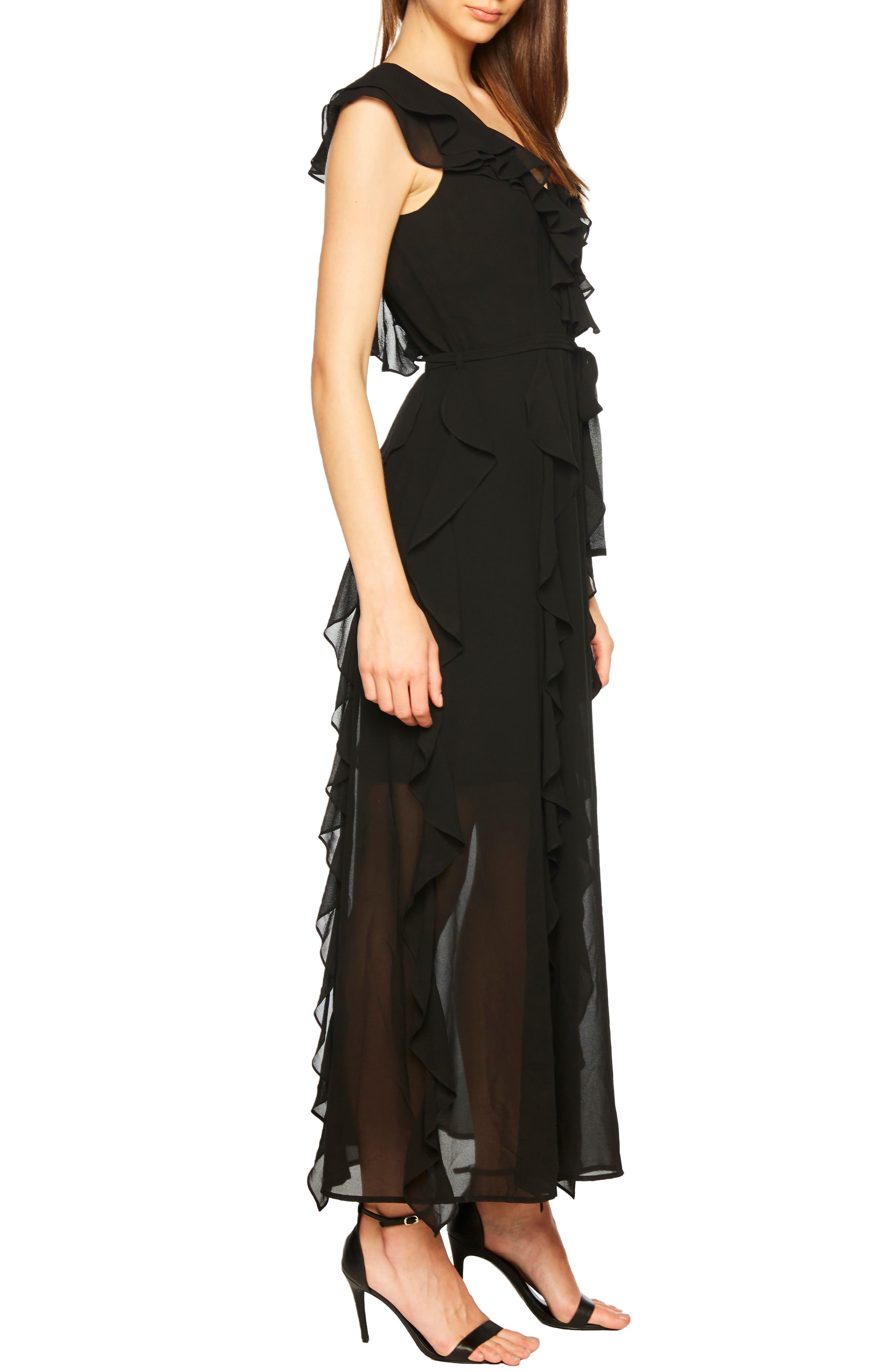 Emily Frill Maxi Dress,                             Alternate thumbnail 3, color,                             BLACK