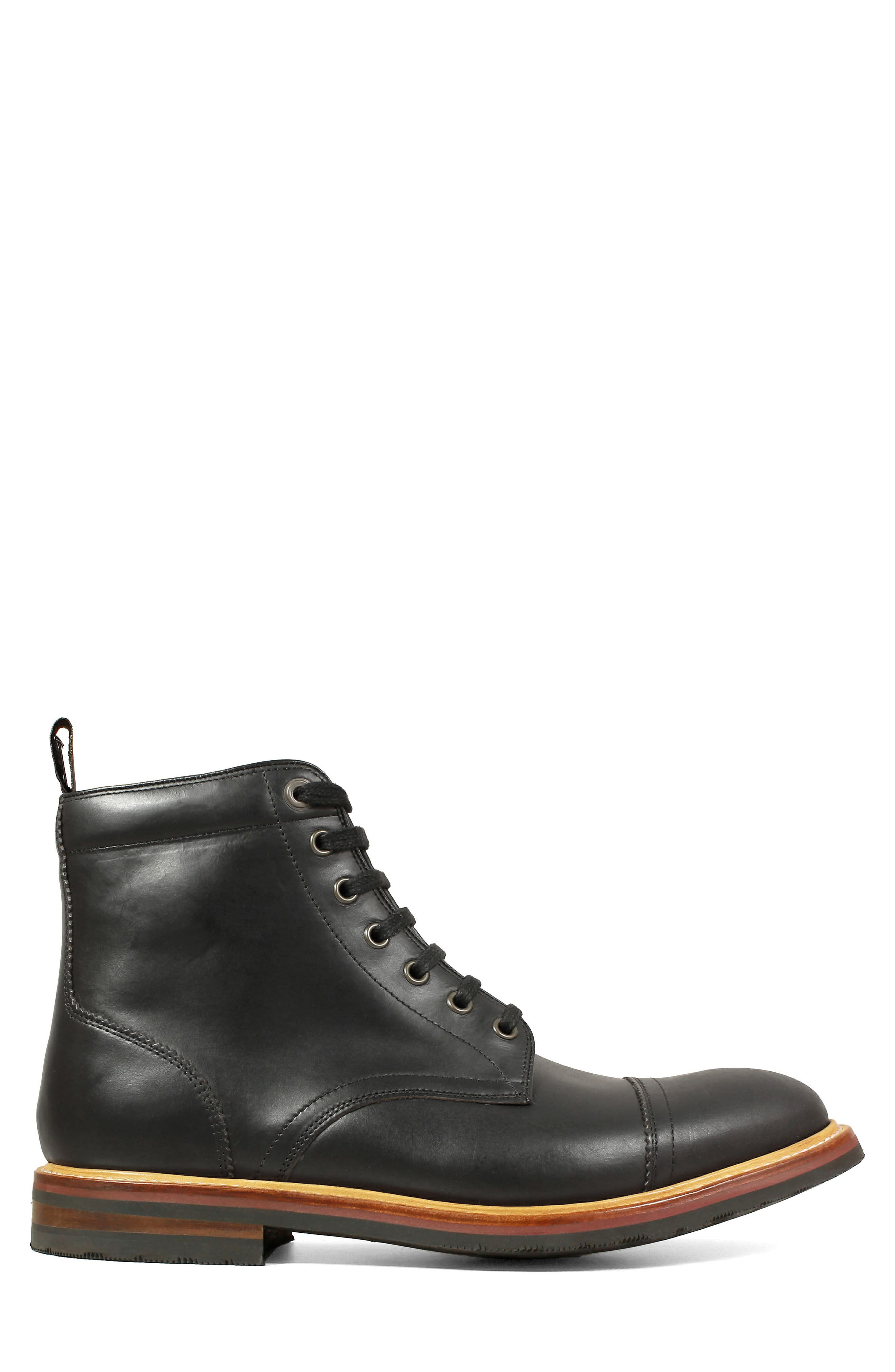 Founcry Cap Toe Boot,                             Alternate thumbnail 3, color,                             BLACK LEATHER