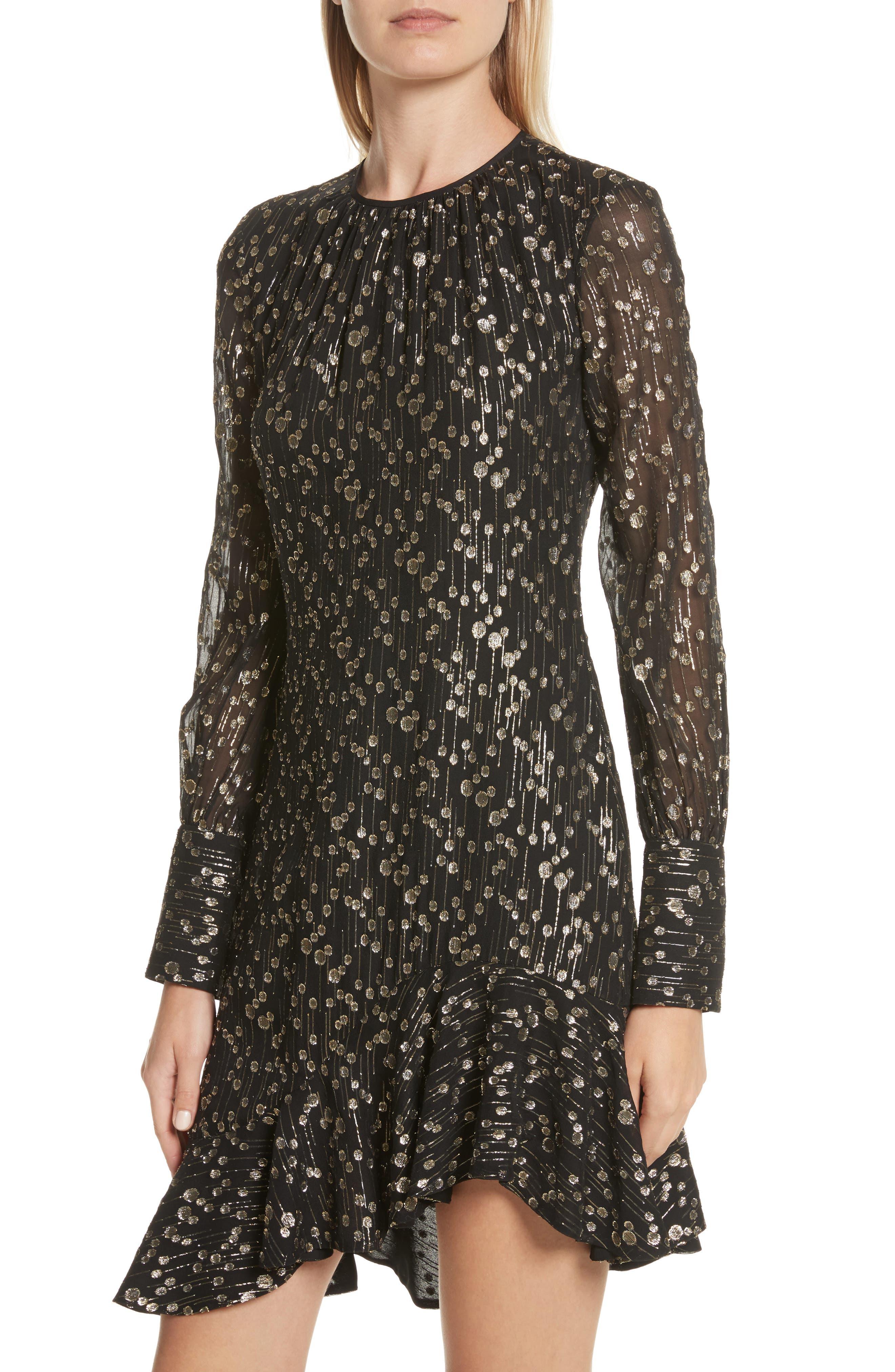 Metallic Dot Asymmetrical Ruffle Dress,                             Alternate thumbnail 4, color,                             001
