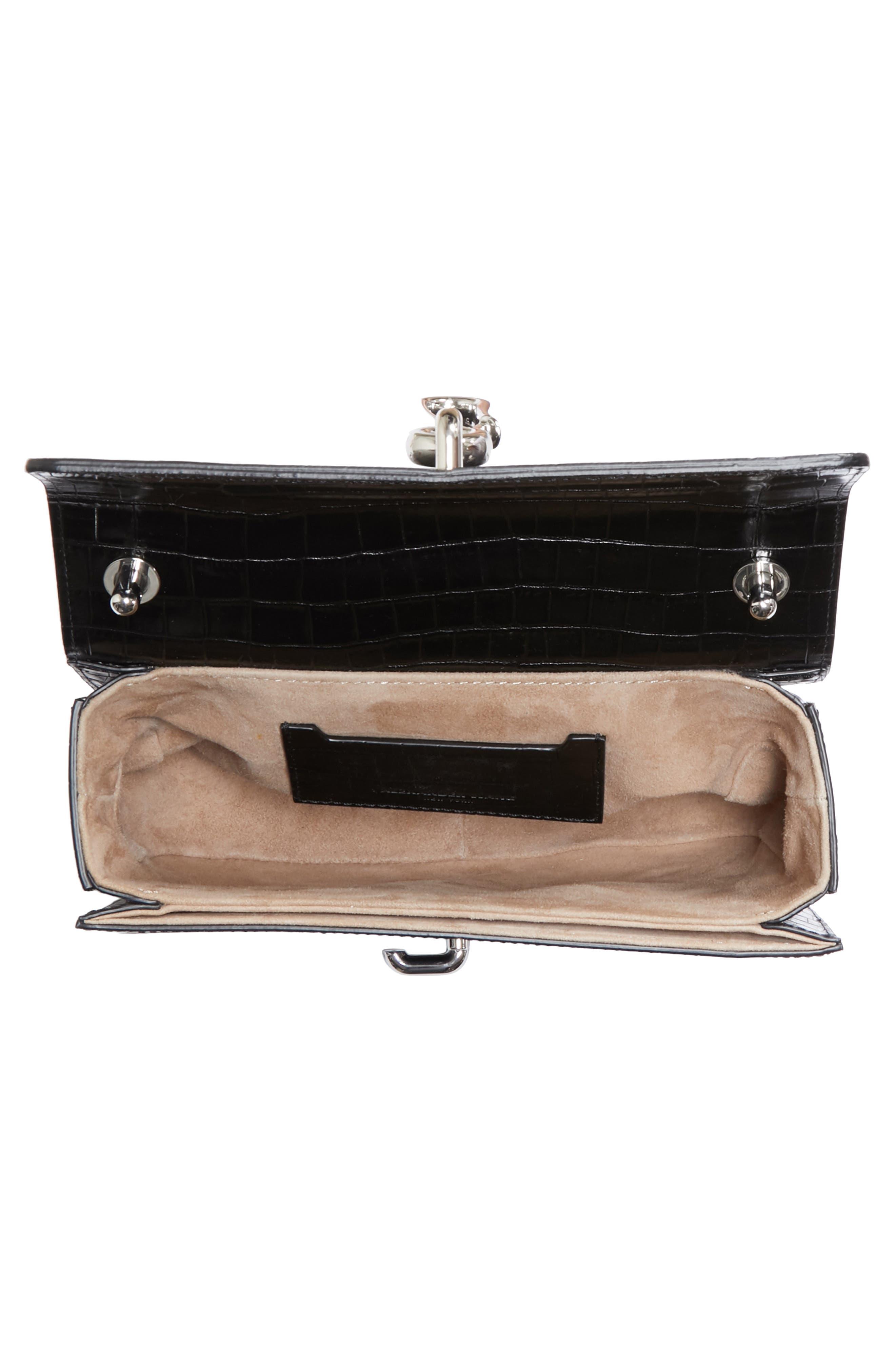 Hook Medium Leather Shoulder/Crossbody Bag,                             Alternate thumbnail 4, color,                             001