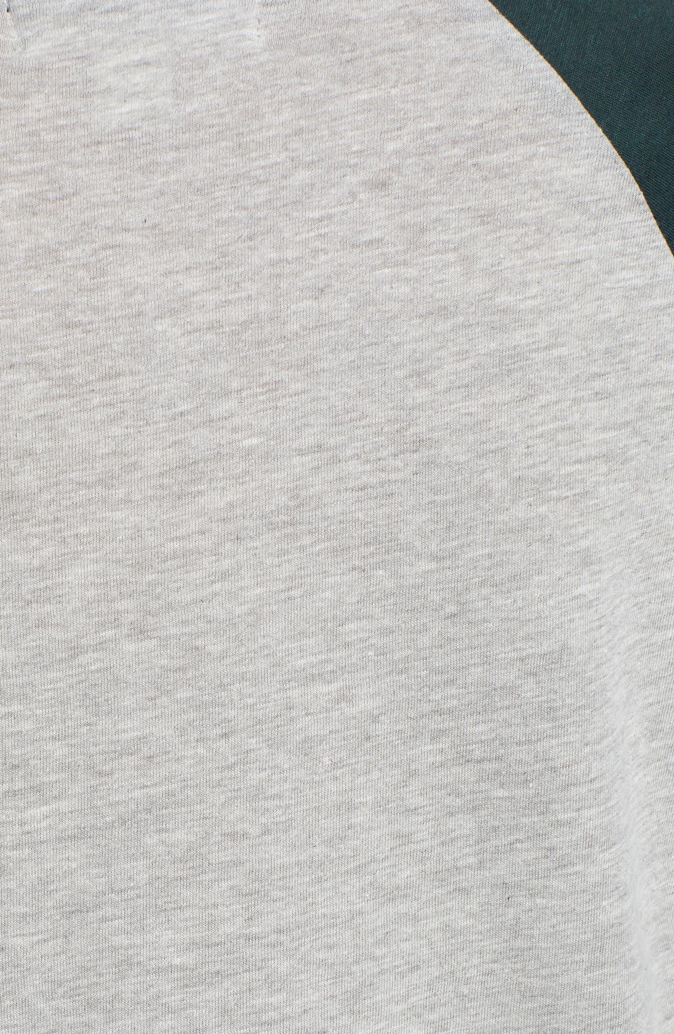 Colorblock Cotton Blend Raglan Top,                             Alternate thumbnail 5, color,                             GREY- GREEN GABLES COMBO