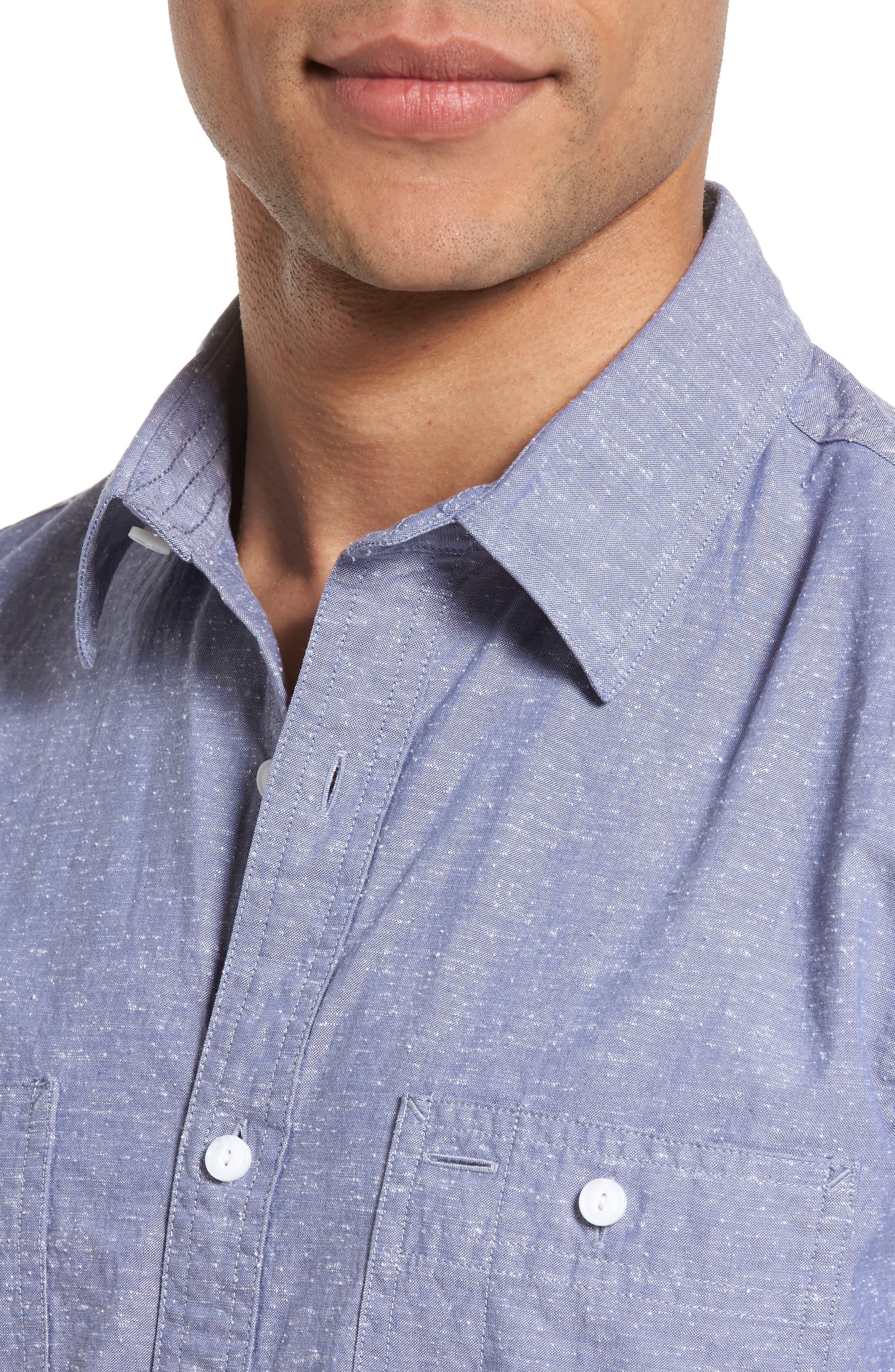 Slim Fit Slub Cotton Sport Shirt,                             Alternate thumbnail 4, color,                             450