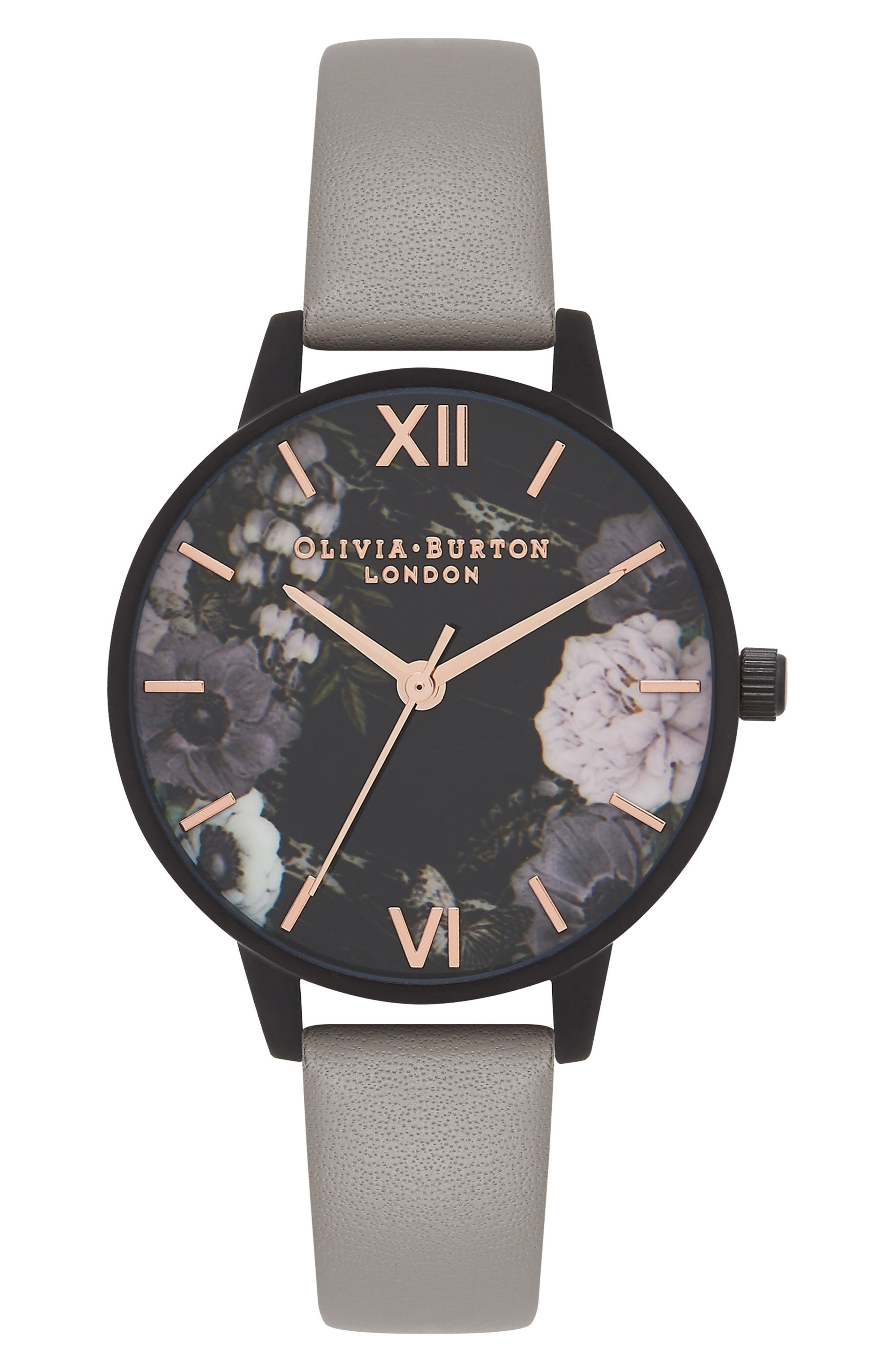 After Dark Floral Leather Strap Watch, 30mm,                             Main thumbnail 1, color,                             GREY/ ROSE/ BLACK