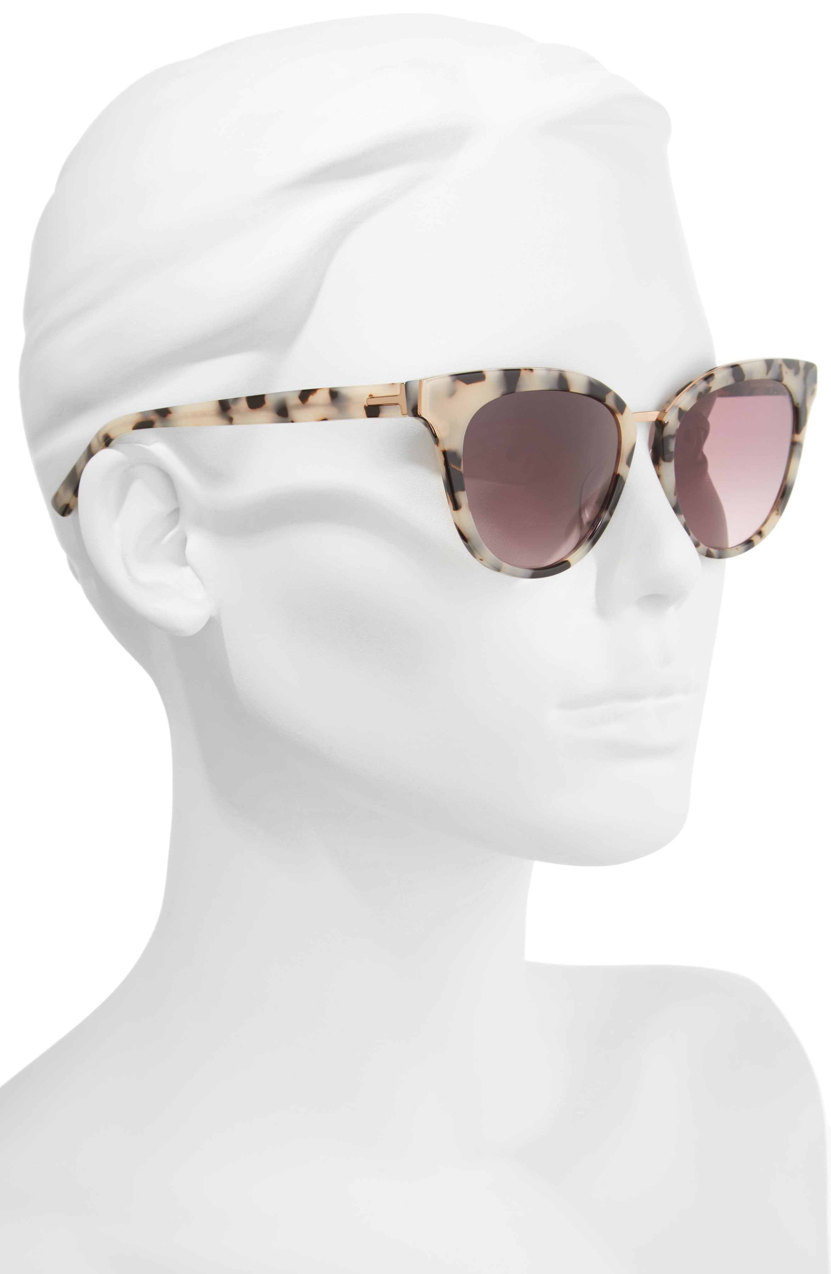 53mm Cat Eye Sunglasses,                             Alternate thumbnail 2, color,                             IVORY