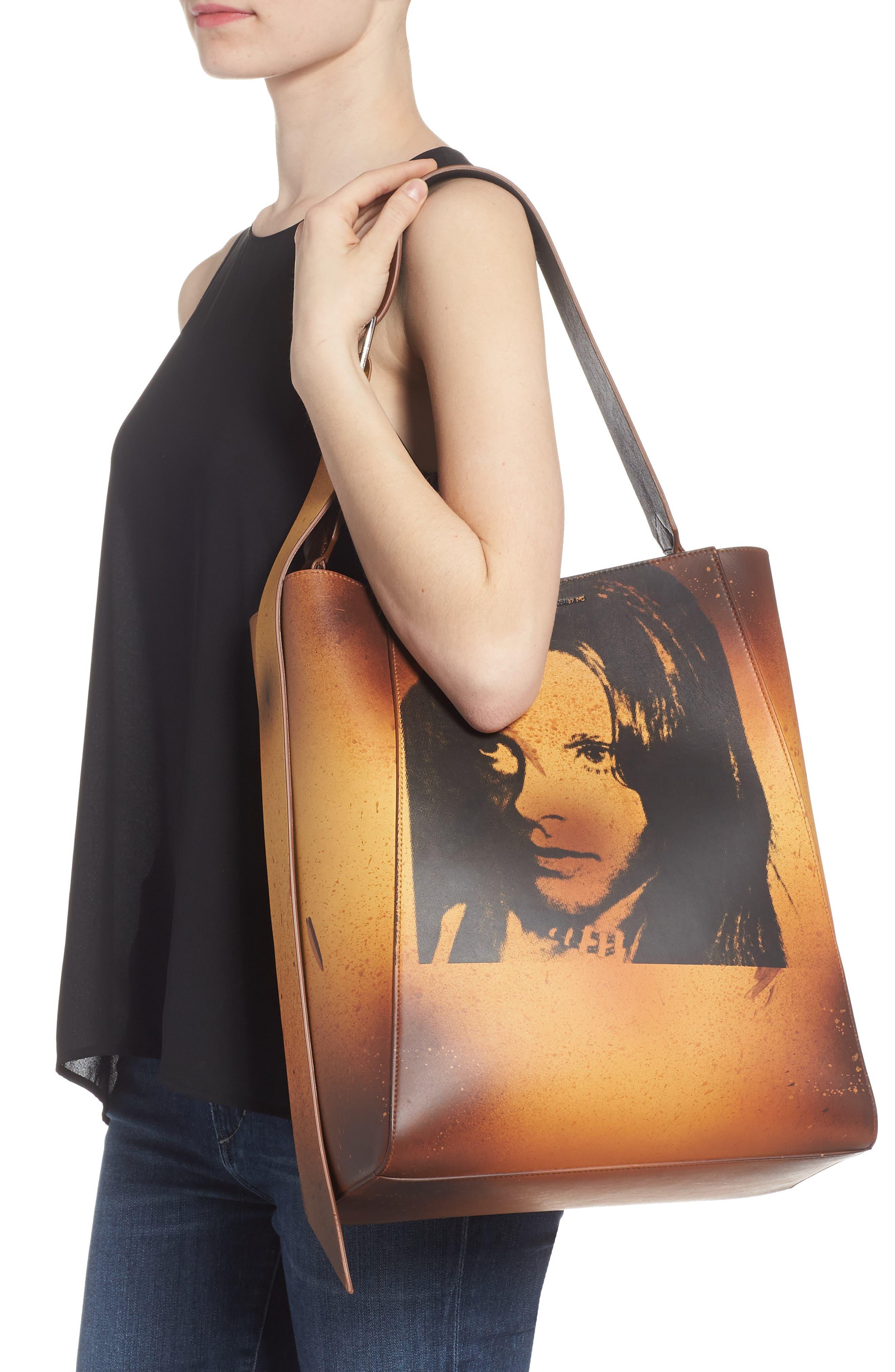 x Andy Warhol Foundation Sandra Brant Calfskin Leather Bucket Bag,                             Alternate thumbnail 2, color,                             AMBER/ BLACK