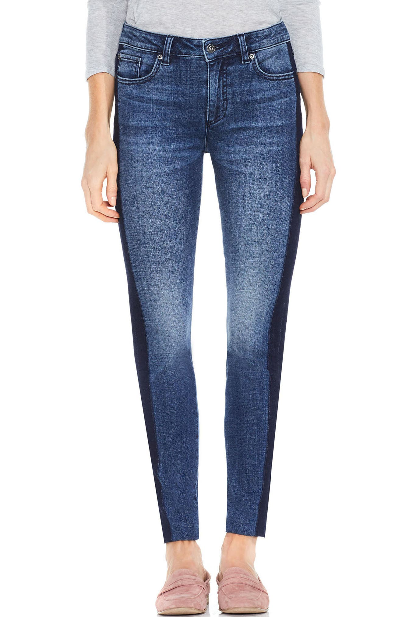 Two by Vince Camuto Two-Tone Skinny Jeans,                             Main thumbnail 1, color,                             INDIGO SHADOW