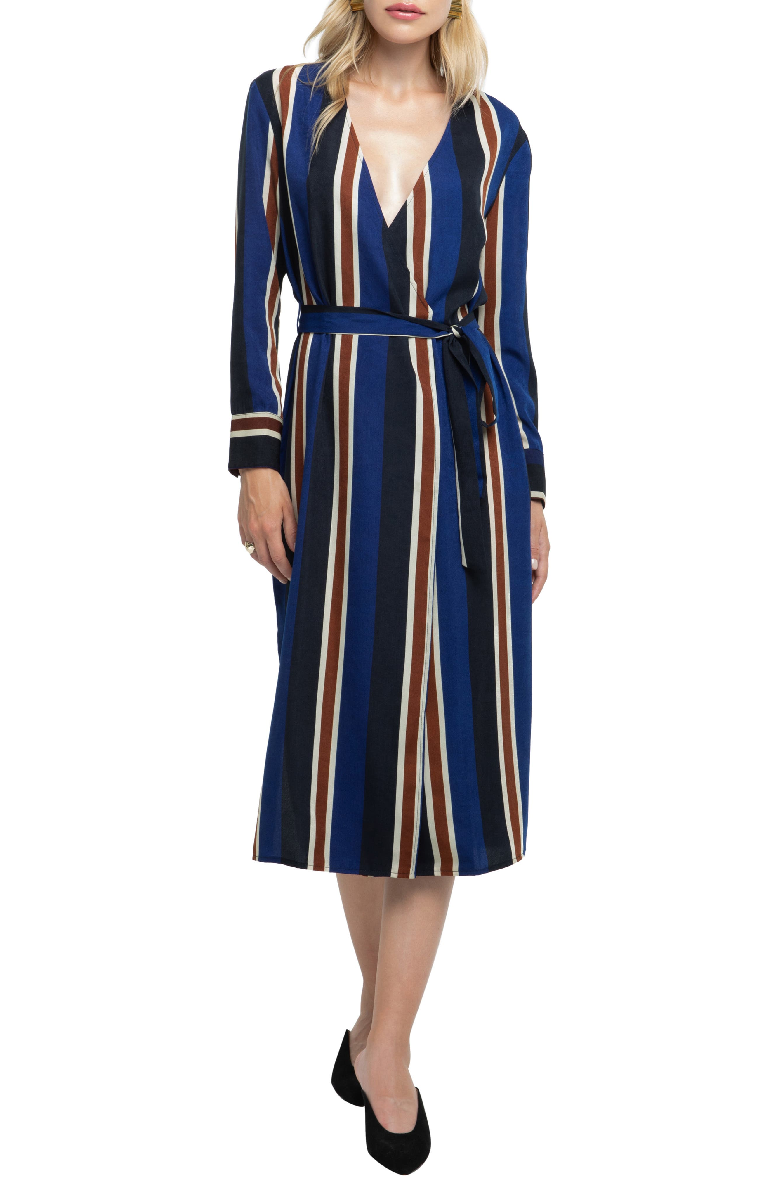 Astr The Label Stripe Wrap Dress, Blue