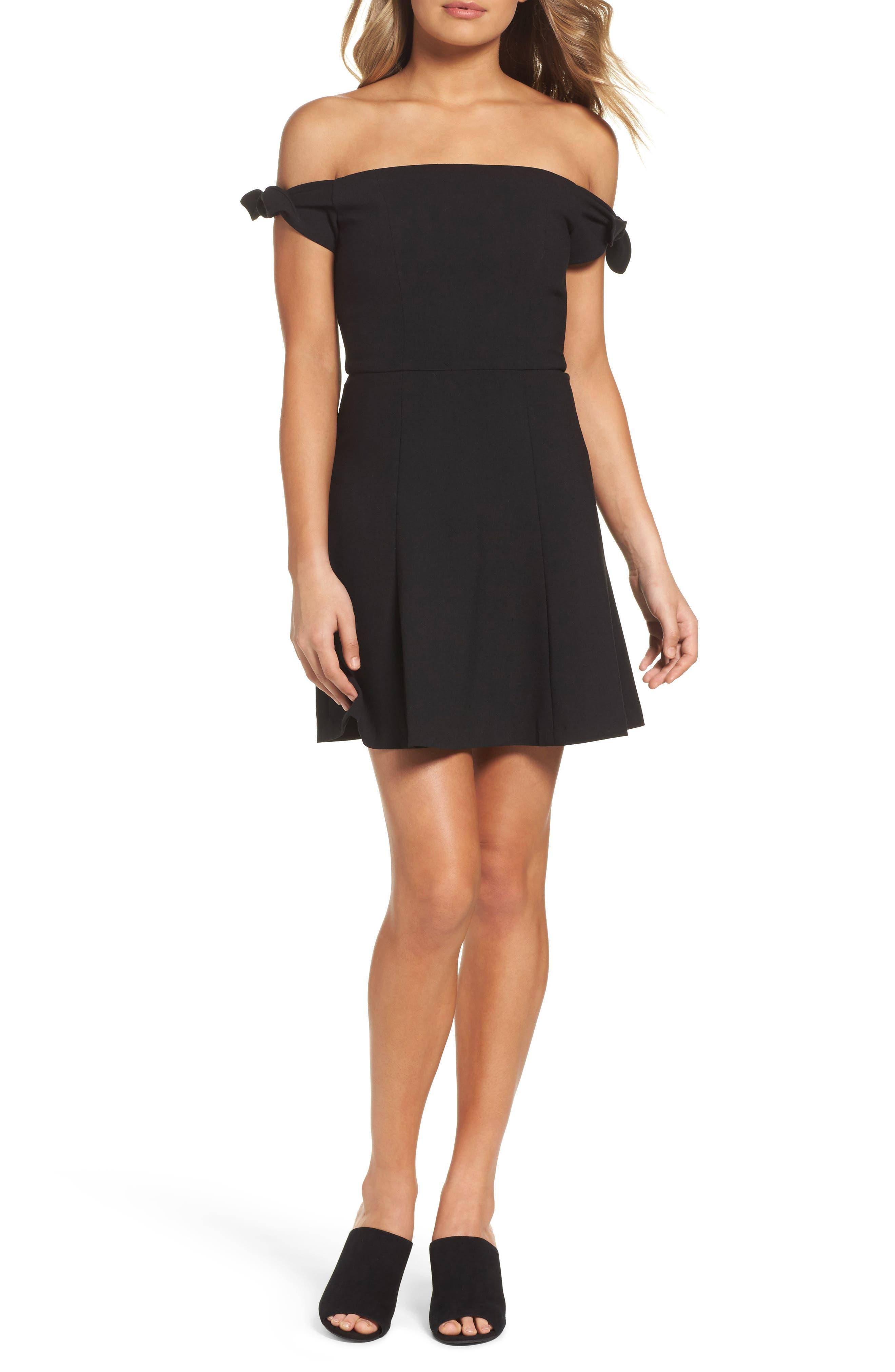 Whisper Light Fit & Flare Dress,                         Main,                         color, 001