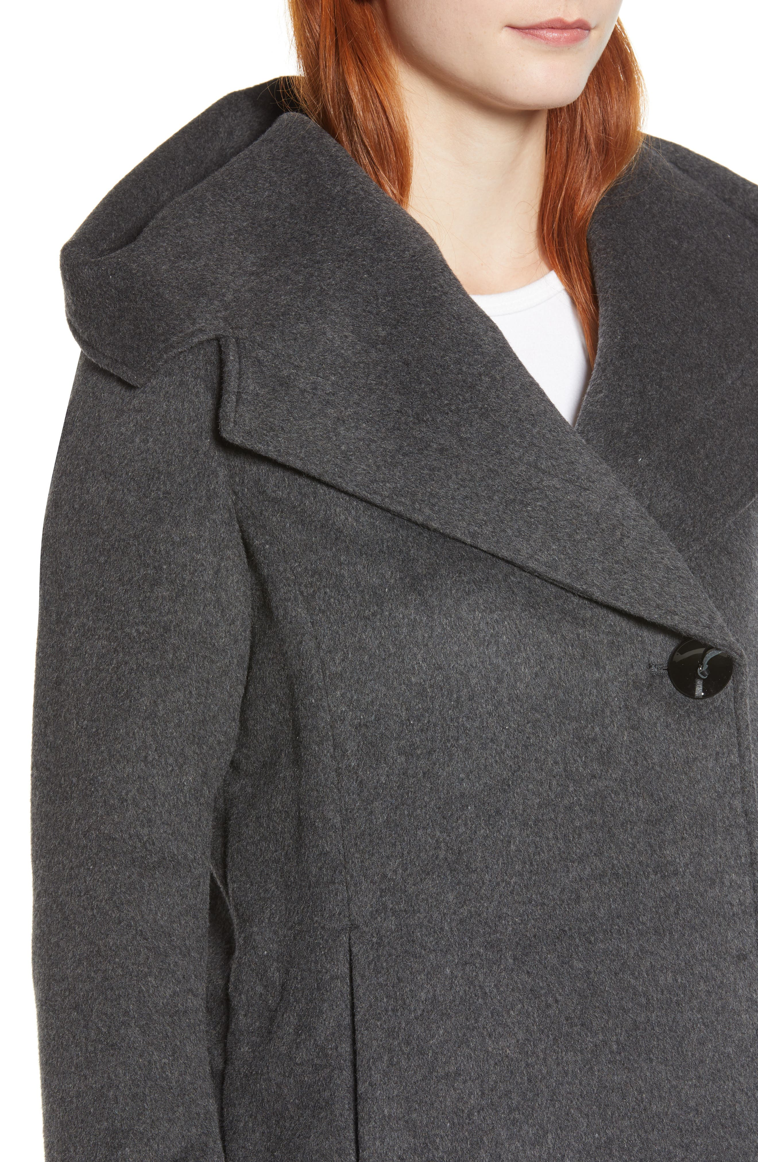 Shawl Collar Hooded Coat,                             Alternate thumbnail 4, color,                             CHARCOAL