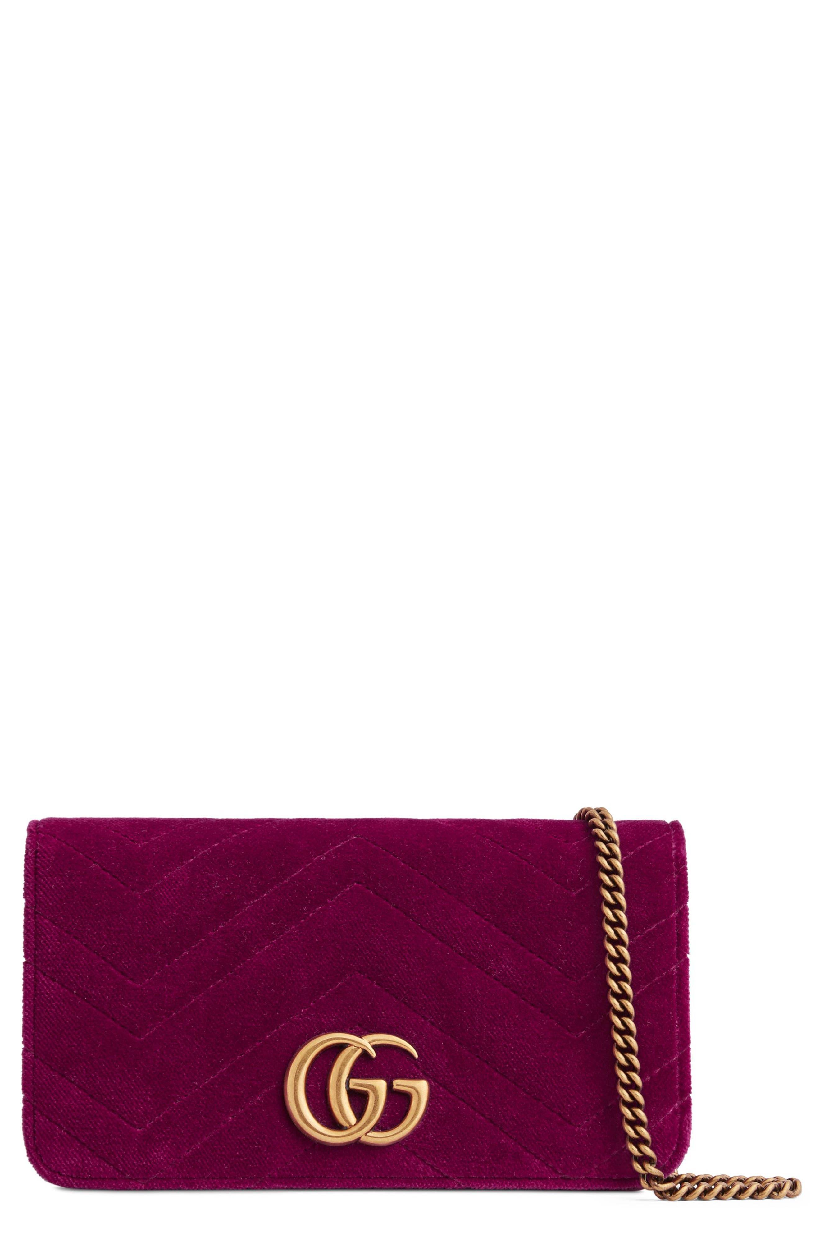 GG Marmont 2.0 Matelassé Velvet Shoulder Bag,                         Main,                         color, FUCSIA/ VIOLA