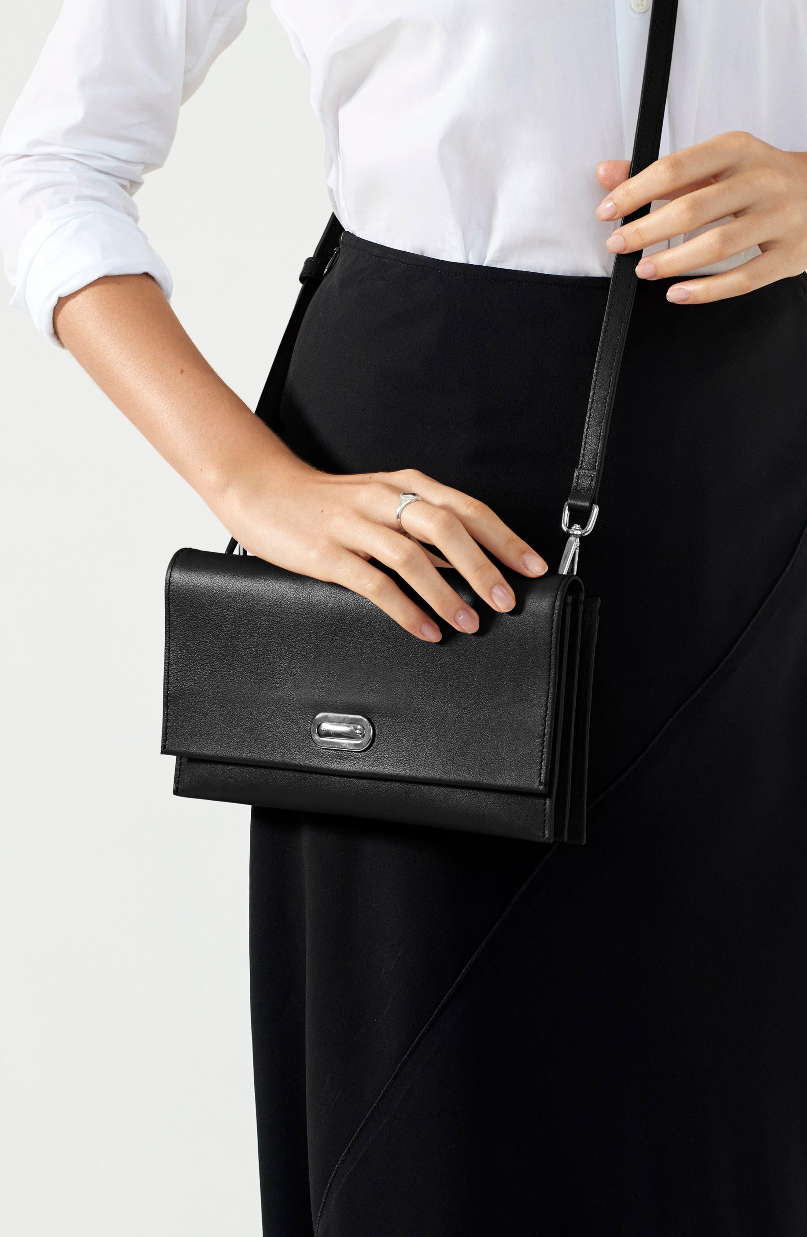 Birdy Leather Crossbody Bag,                             Alternate thumbnail 2, color,                             BLACK