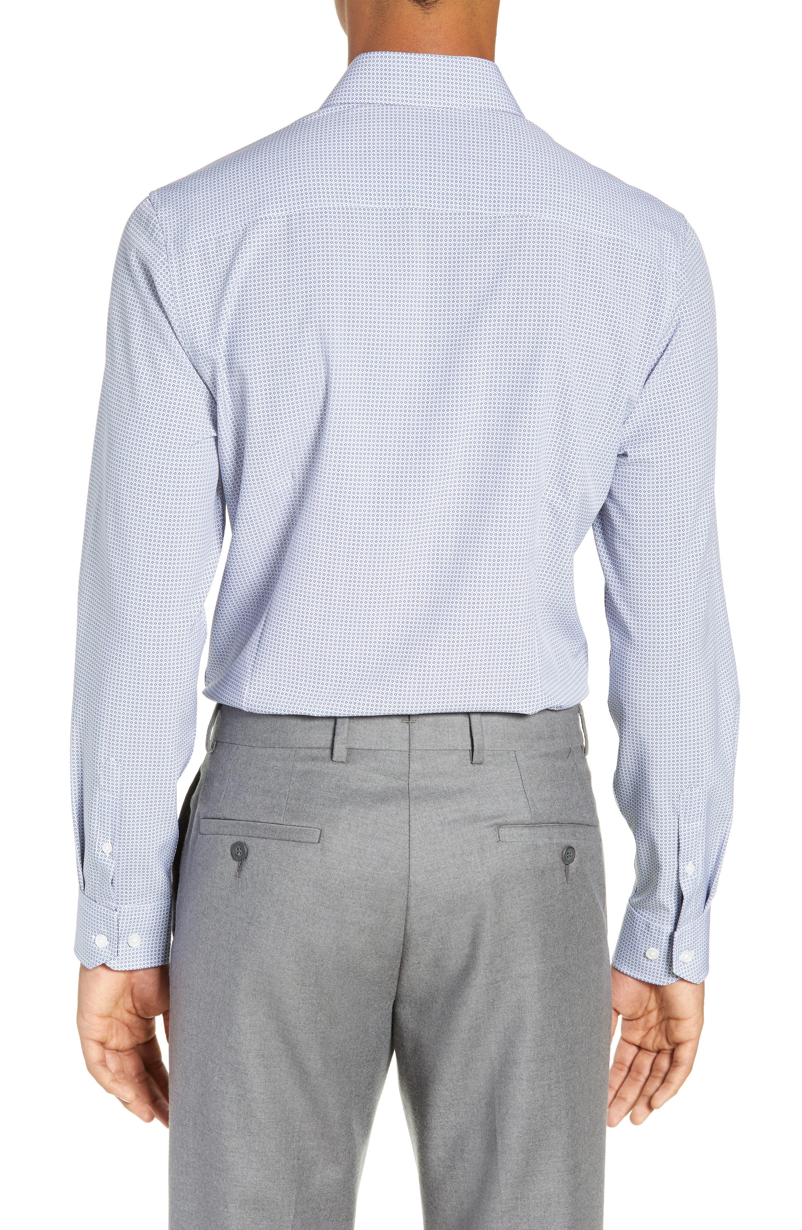 Trim Fit 4-Way Stretch Geometric Dress Shirt,                             Alternate thumbnail 3, color,                             400