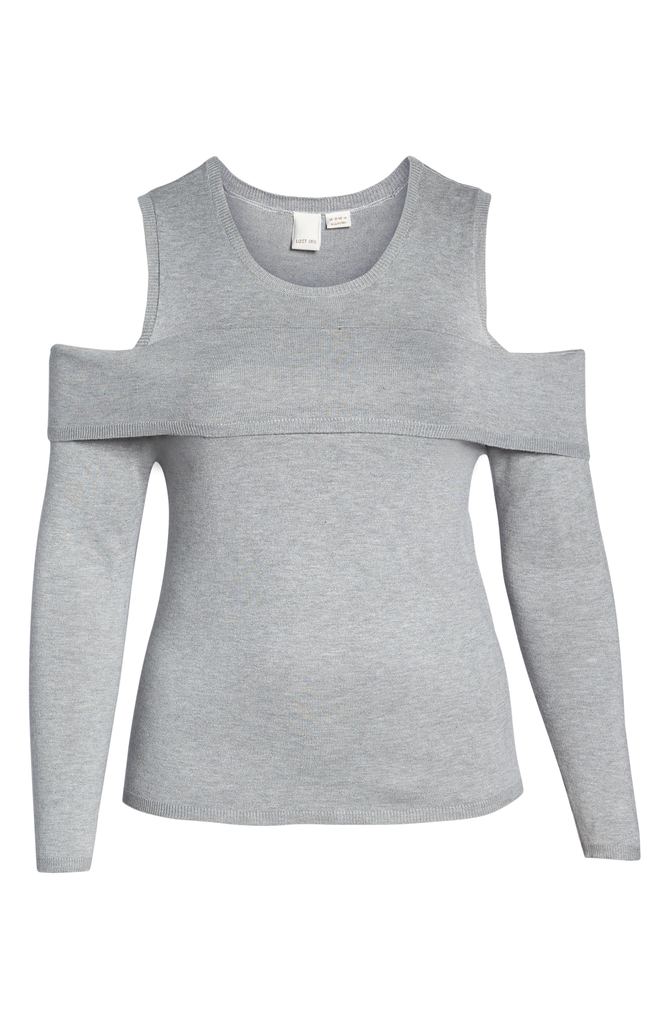 Cold Shoulder Sweater,                             Alternate thumbnail 6, color,                             020