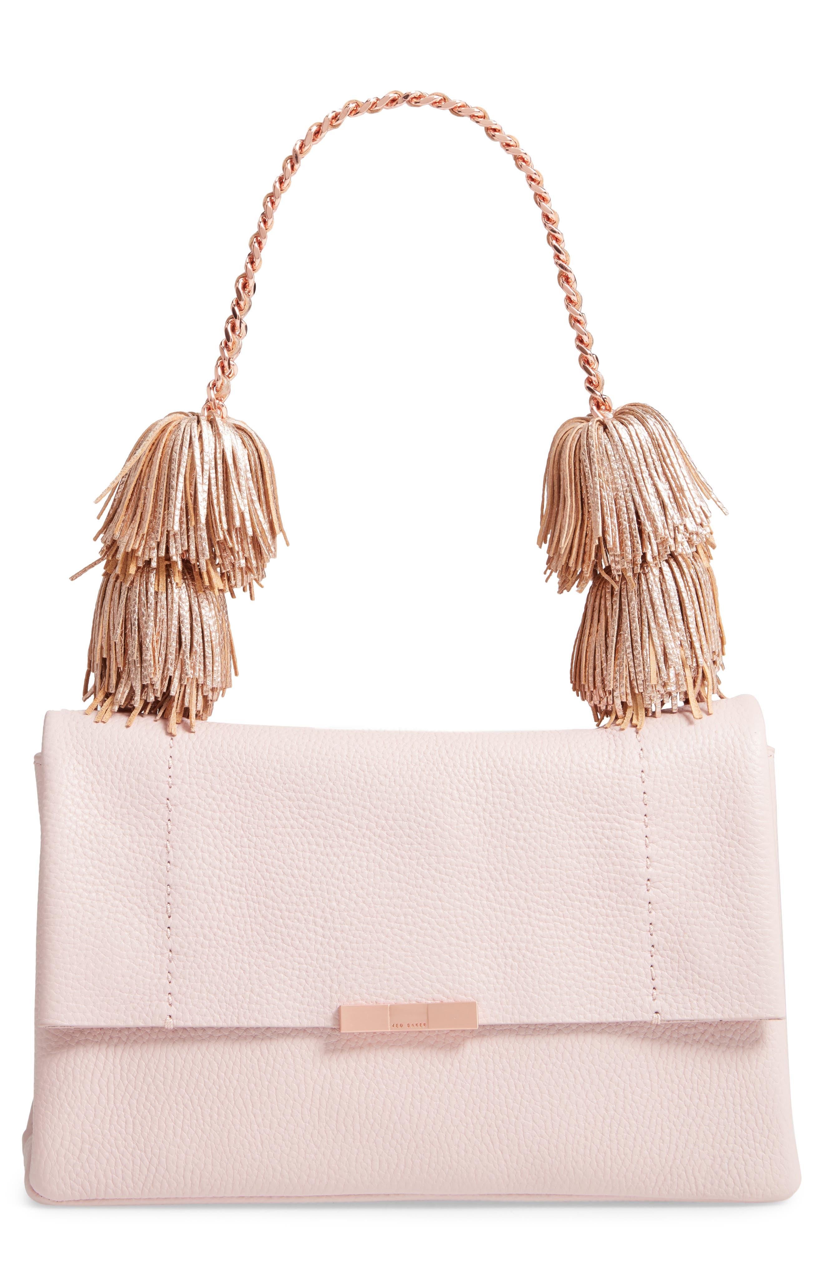 Melody Pom Leather Shoulder Bag,                             Main thumbnail 1, color,                             PALE PINK