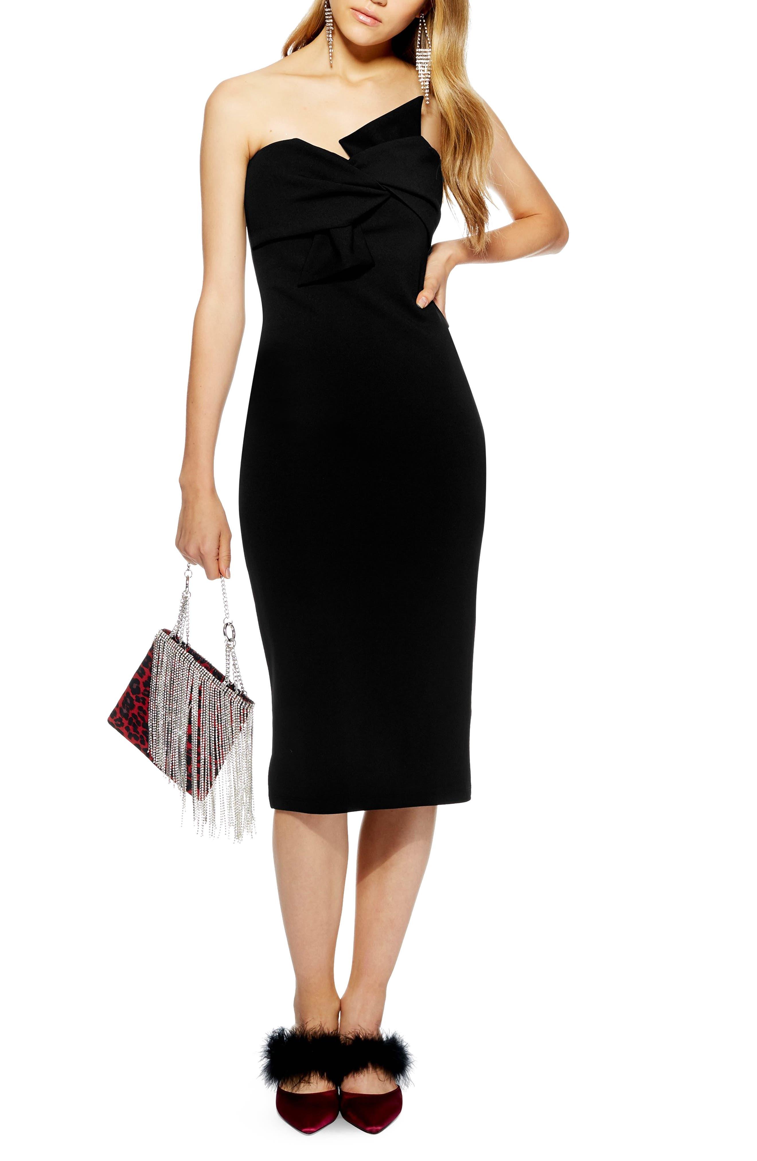 TOPSHOP Twist Bow Sheath Dress, Main, color, BLACK