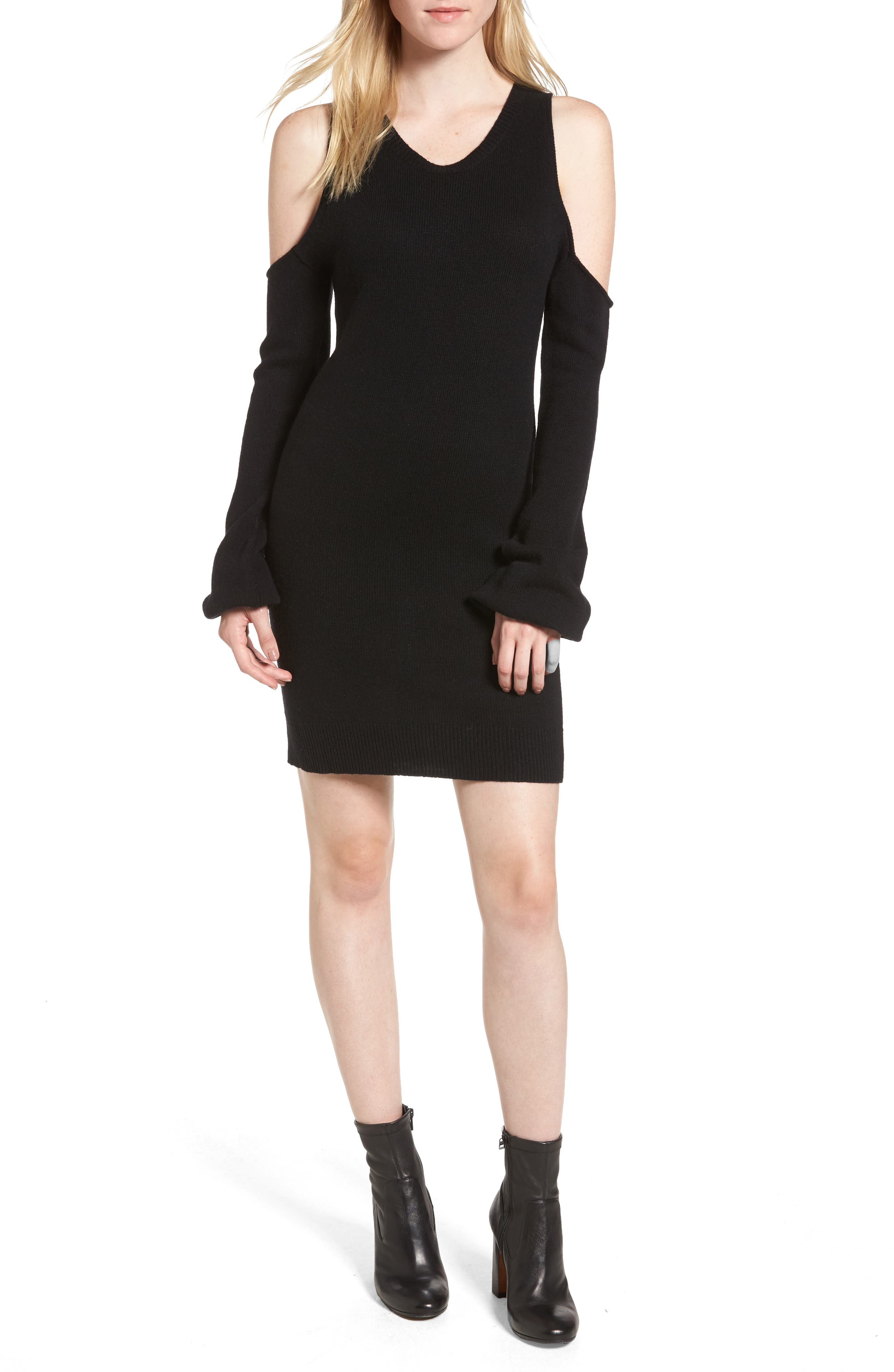 Cold Shoulder Sweater Dress,                             Main thumbnail 1, color,                             001