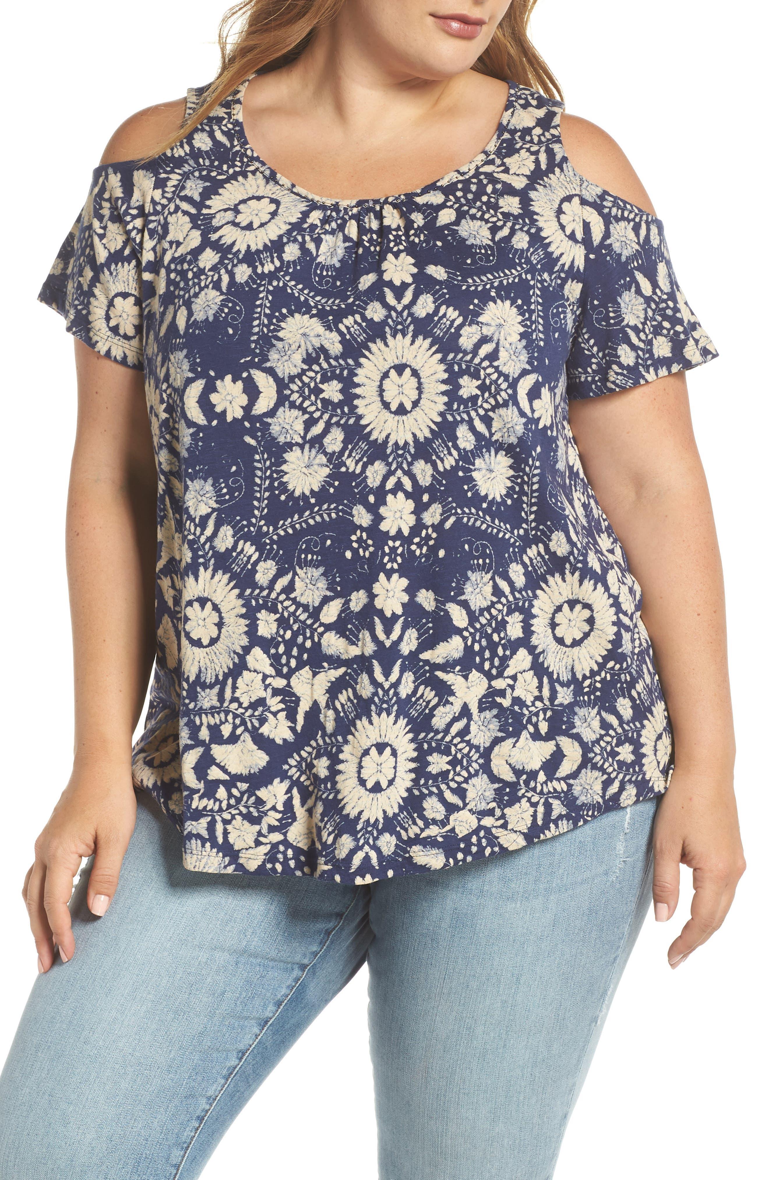 Floral Cold Shoulder Top,                             Main thumbnail 1, color,                             460