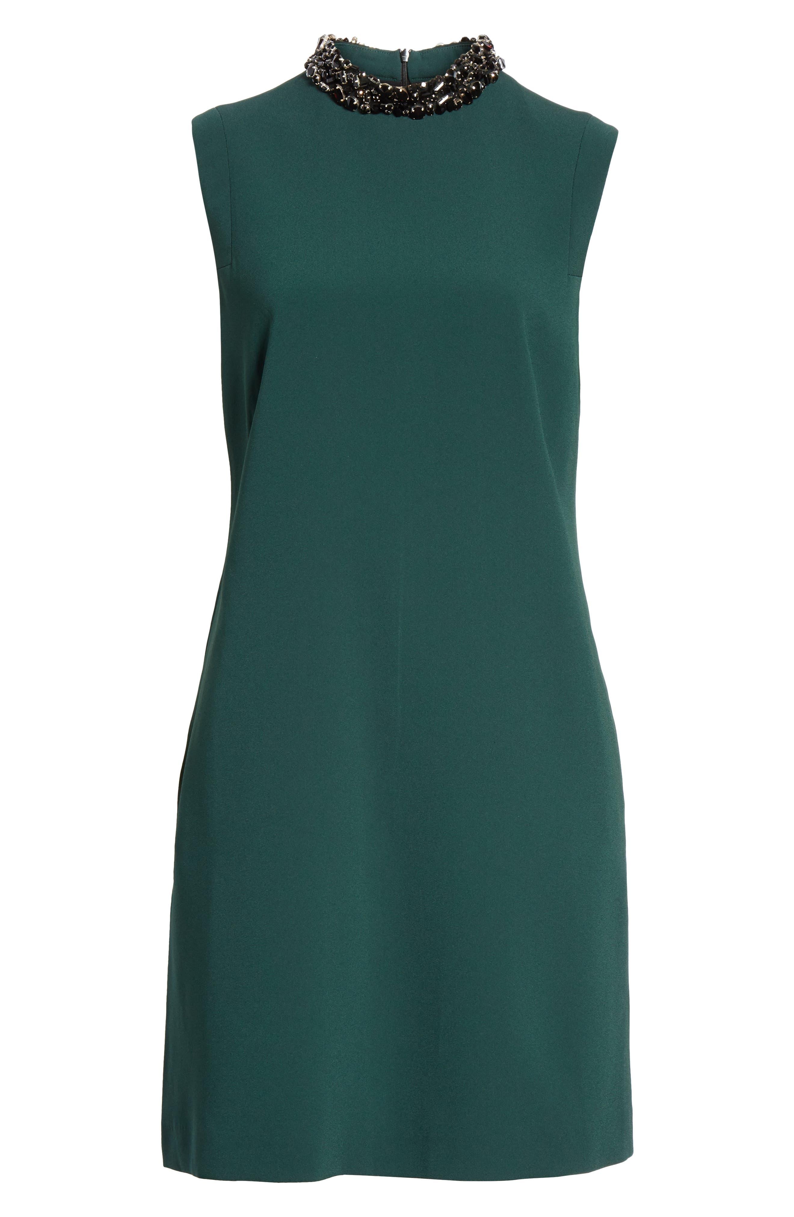 Verona Jewel Neck Dress,                             Alternate thumbnail 6, color,                             DK. GREEN