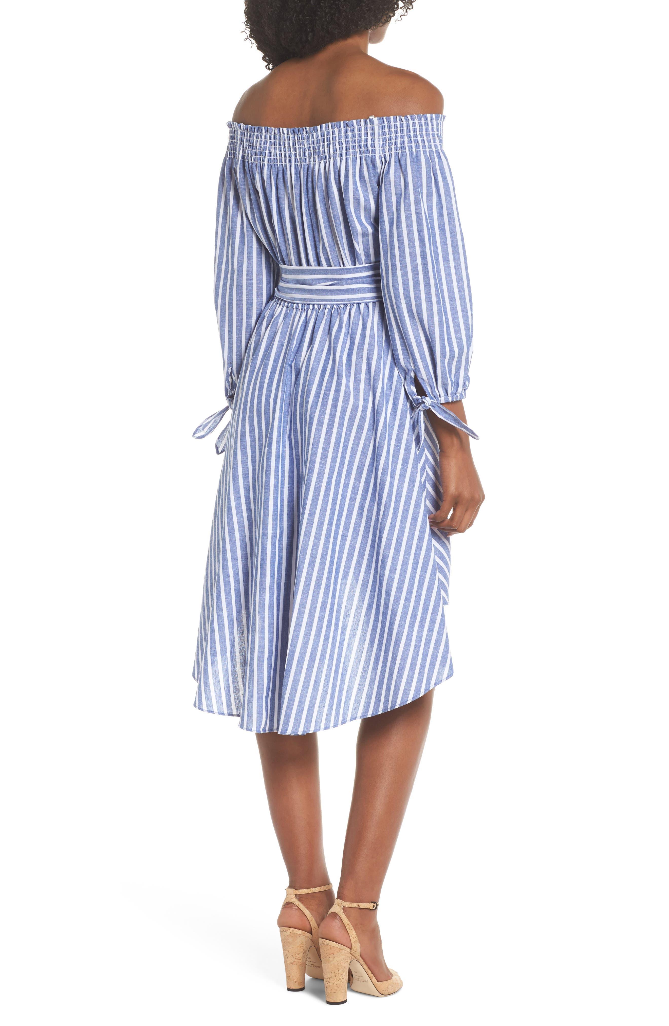 Off the Shoulder Tie Waist Dress,                             Alternate thumbnail 2, color,                             407