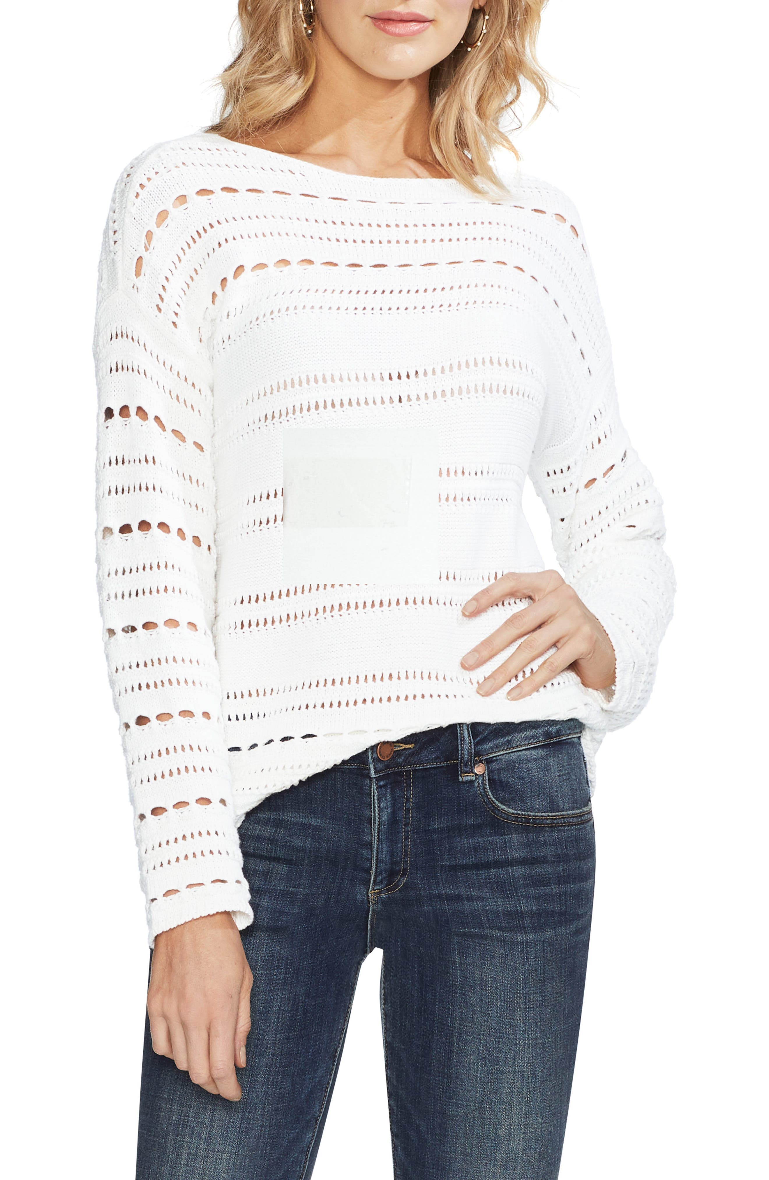 Vince Camuto Open Stitch Cotton Sweater, Ivory