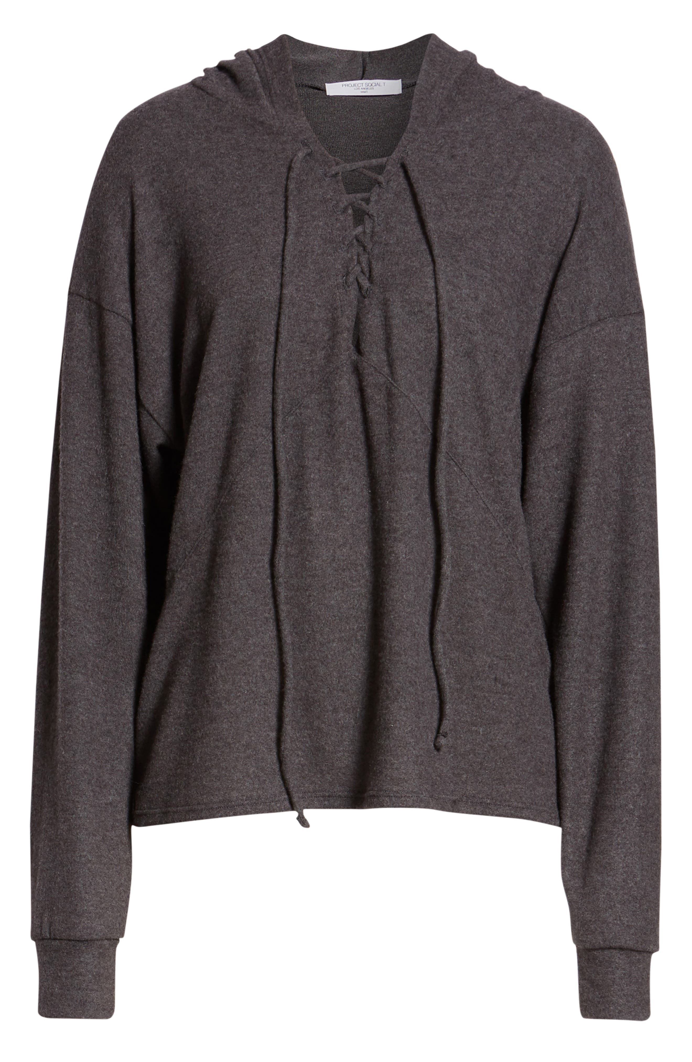Calhoun Lace-Up Hoodie,                             Alternate thumbnail 6, color,                             CHARCOAL