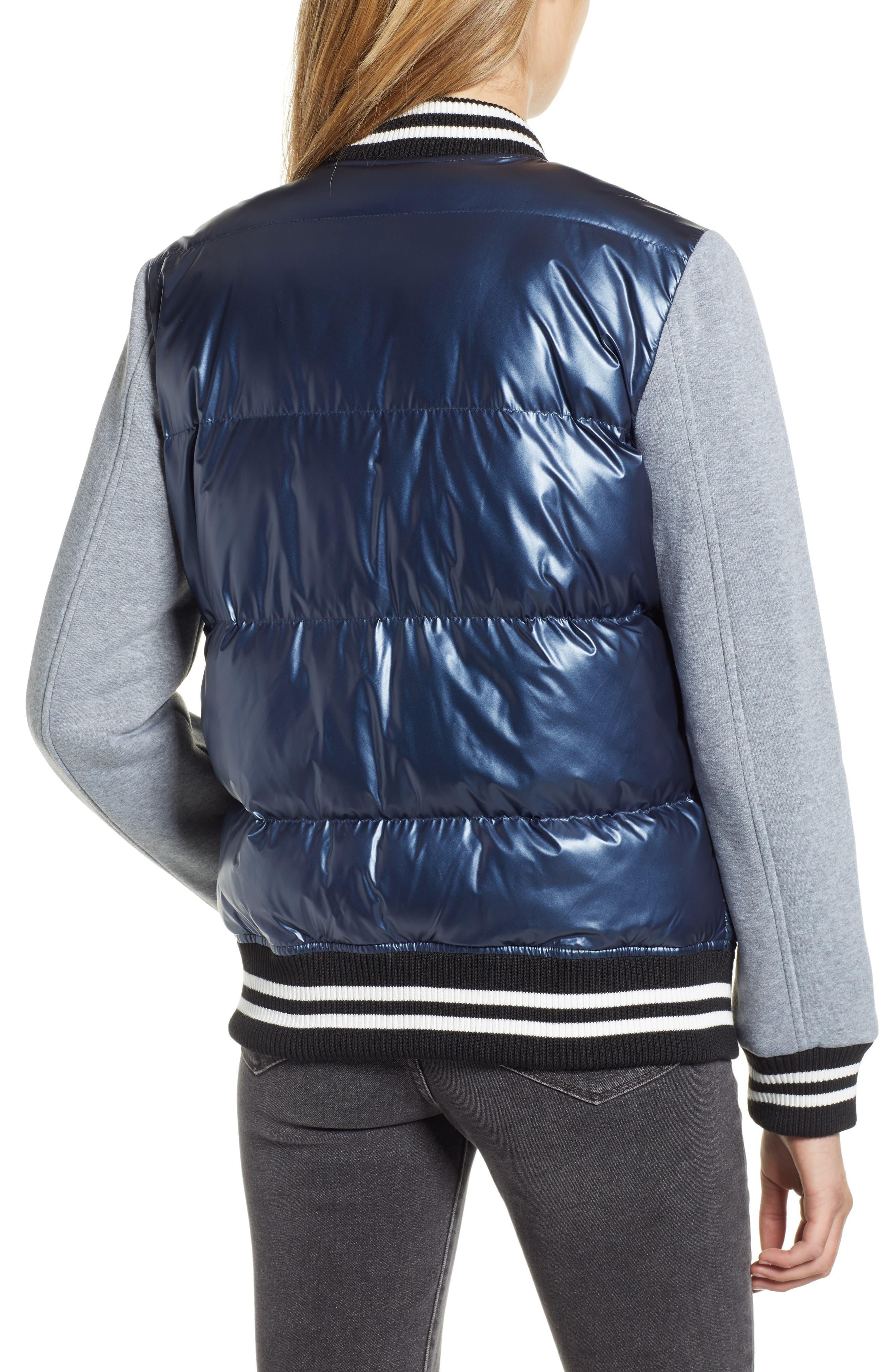 LEVIS<sup>®</sup> Mixed Media Quilted Varsity Jacket,                             Alternate thumbnail 2, color,                             NAVY/ GREY
