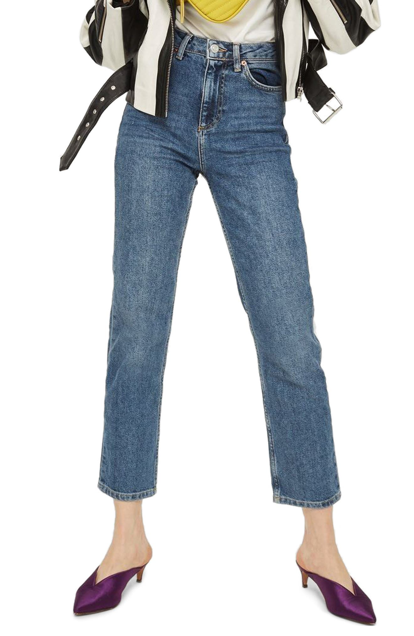TOPSHOP,                             Straight Leg Jeans,                             Main thumbnail 1, color,                             MID DENIM