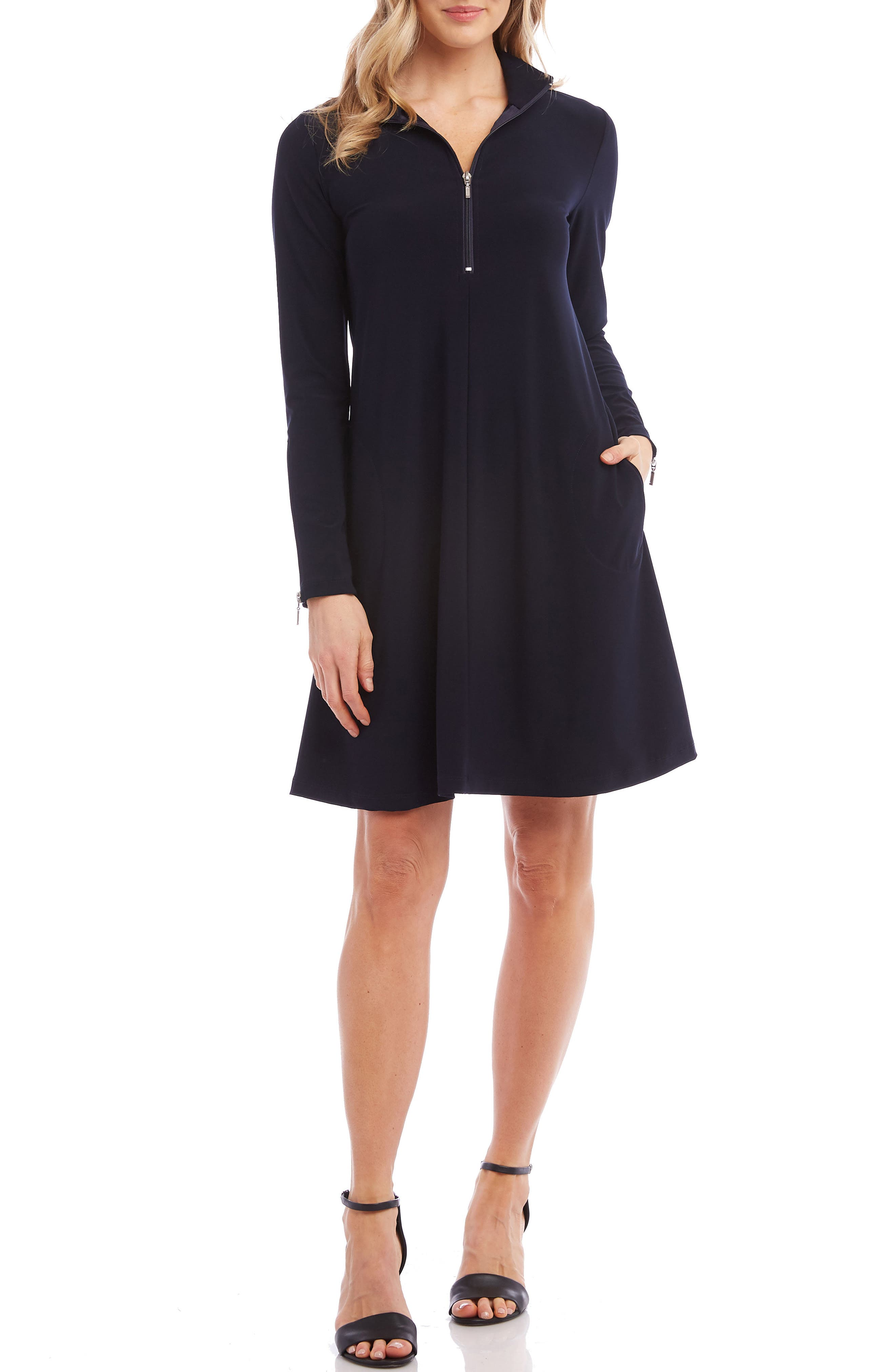 Karen Kane Quarter Zip A-Line Dress, Blue