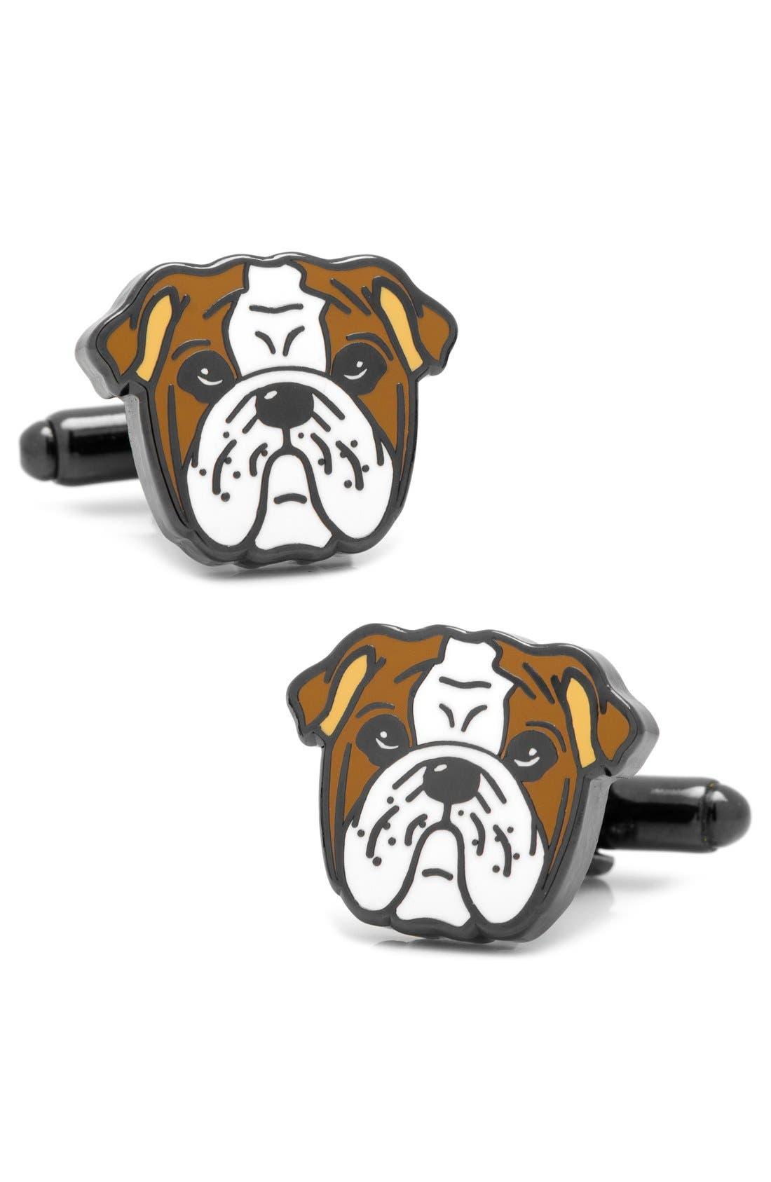 English Bulldog Cuff Links,                             Main thumbnail 1, color,                             BROWN MULTI