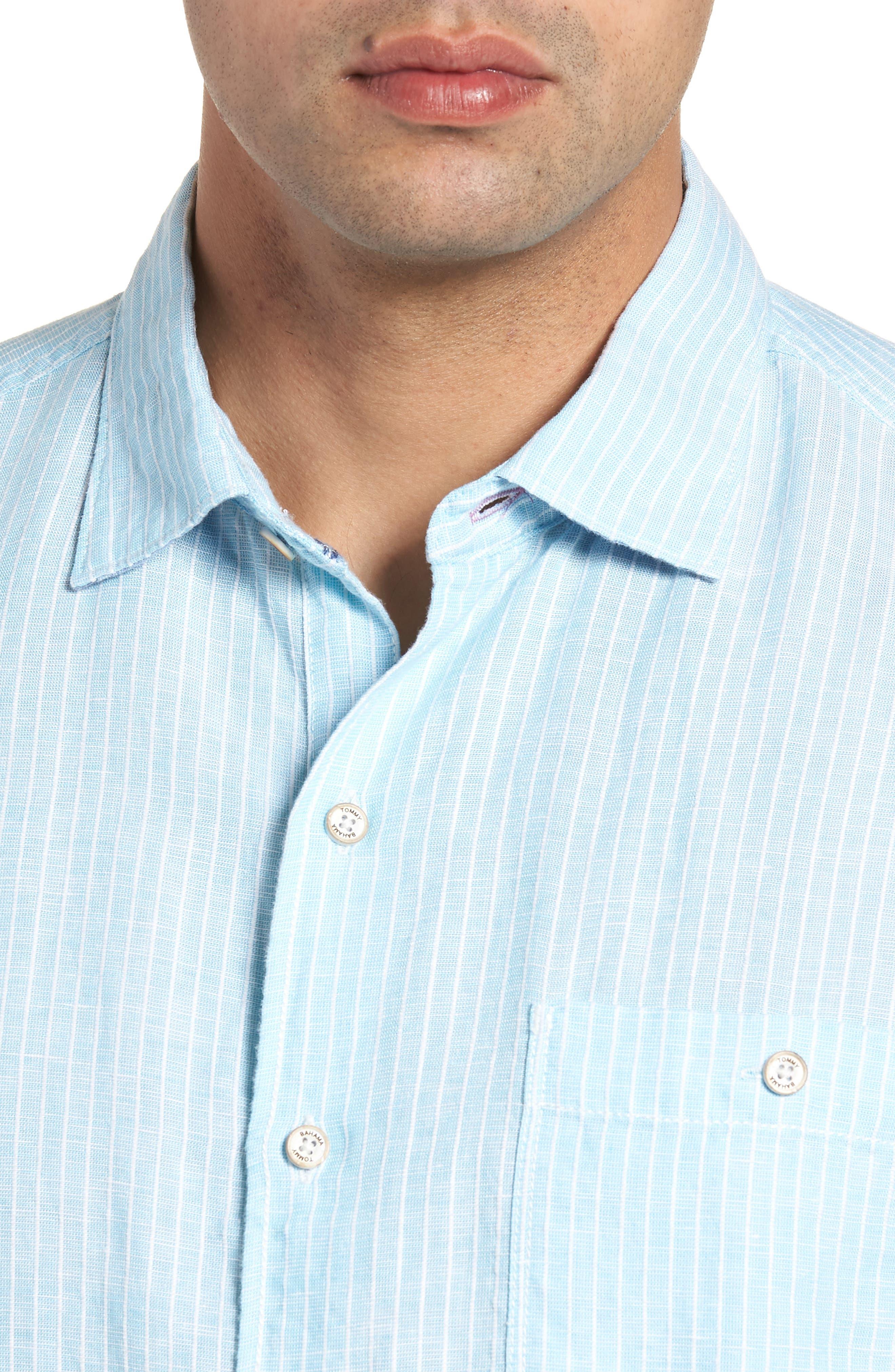 Sand Linen Dobby Stripe Sport Shirt,                             Alternate thumbnail 4, color,                             BLUE RADIANCE