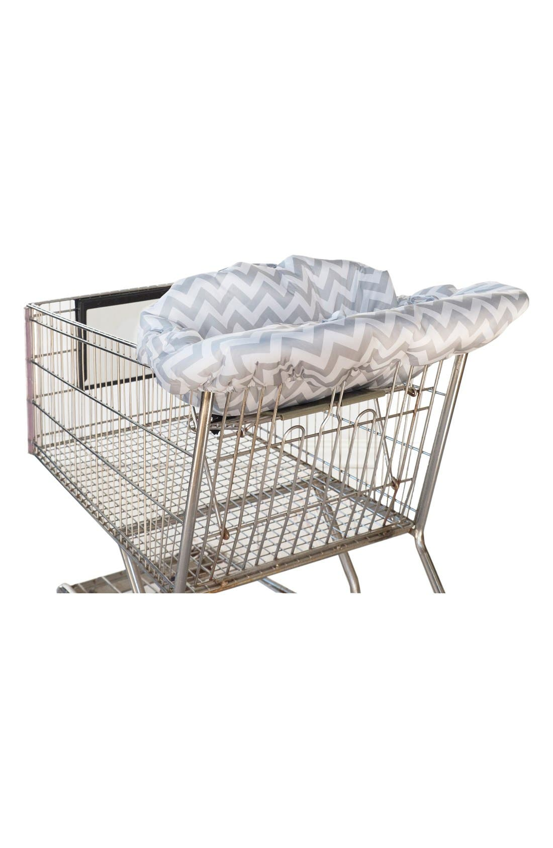 Shopping Cart/Highchair Cover,                             Main thumbnail 1, color,                             GREY CHEVRON