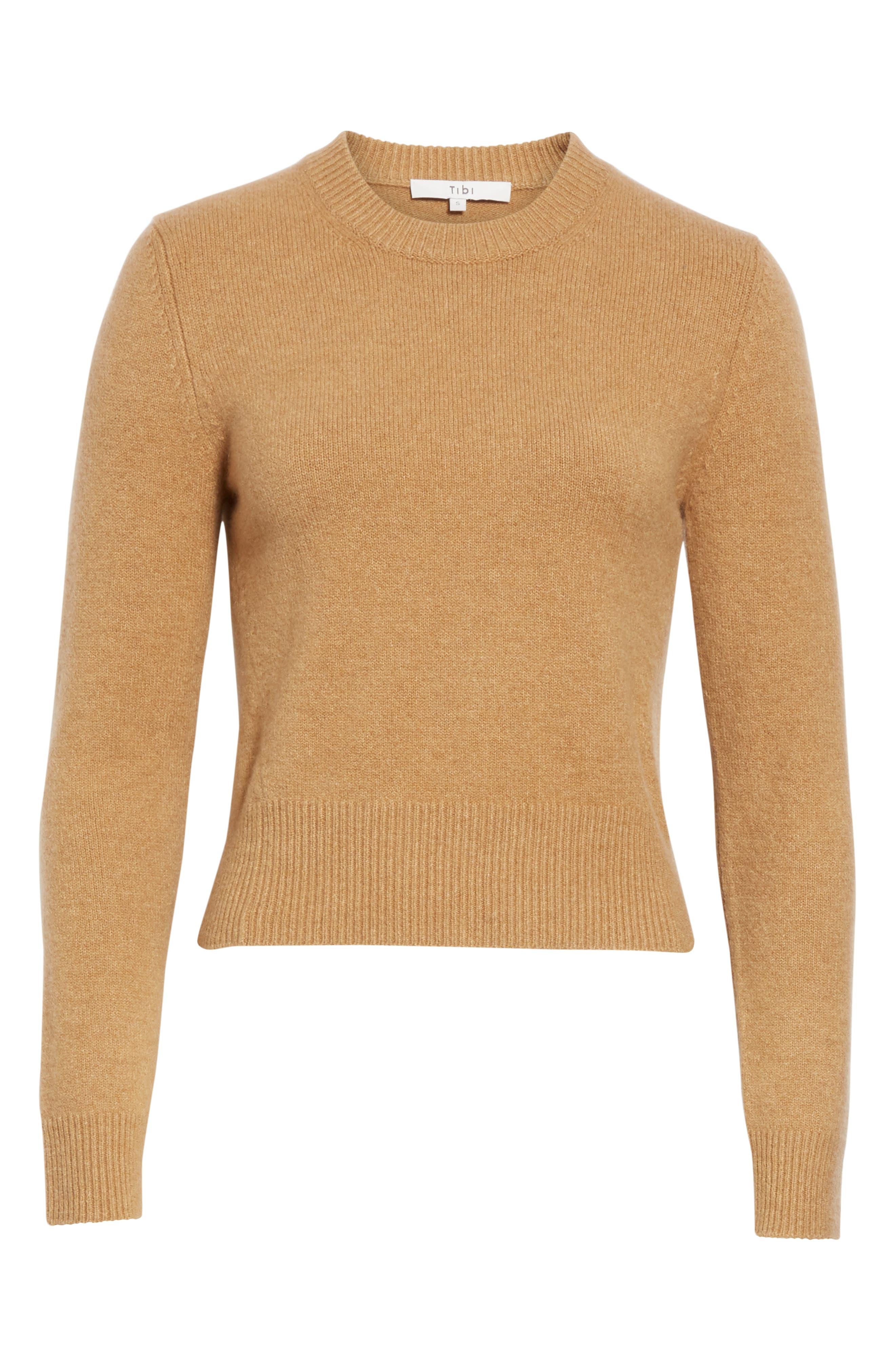 Stretch Cashmere Sweater,                             Alternate thumbnail 6, color,                             CARAMEL