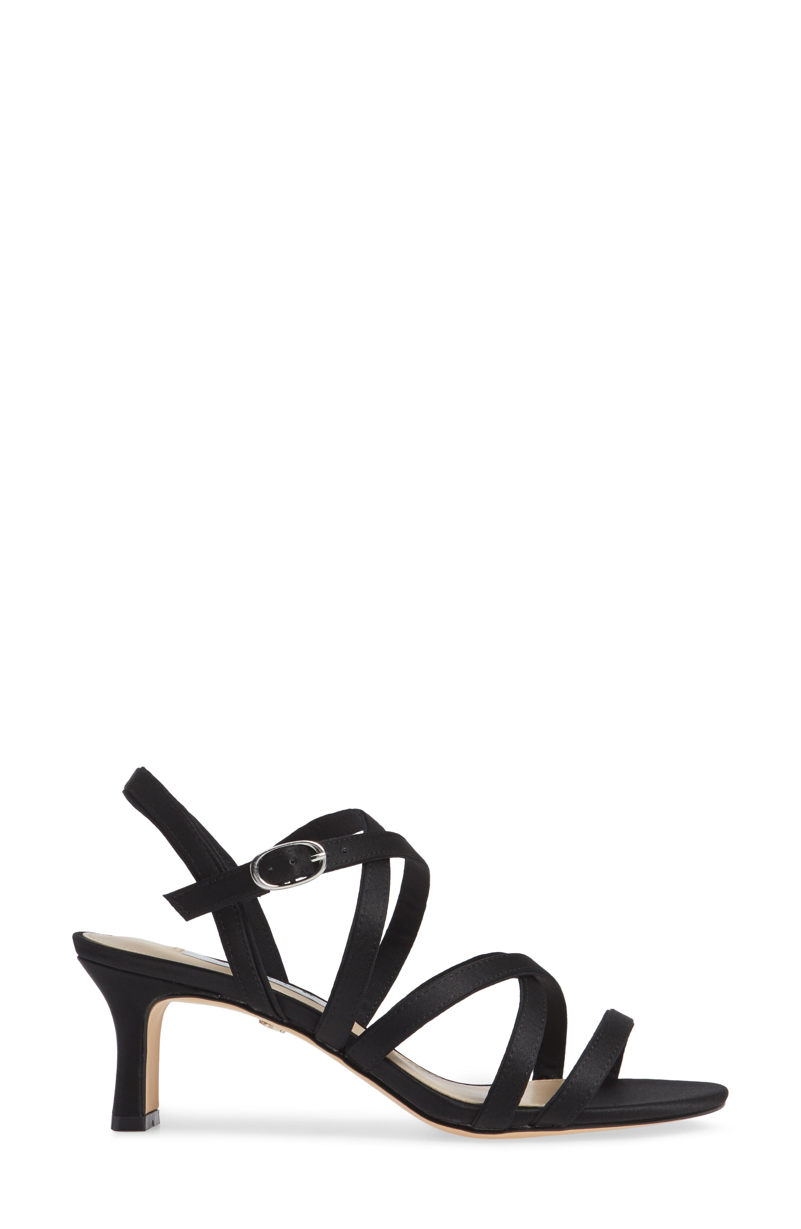 Genaya Strappy Evening Sandal,                             Alternate thumbnail 3, color,                             BLACK SATIN