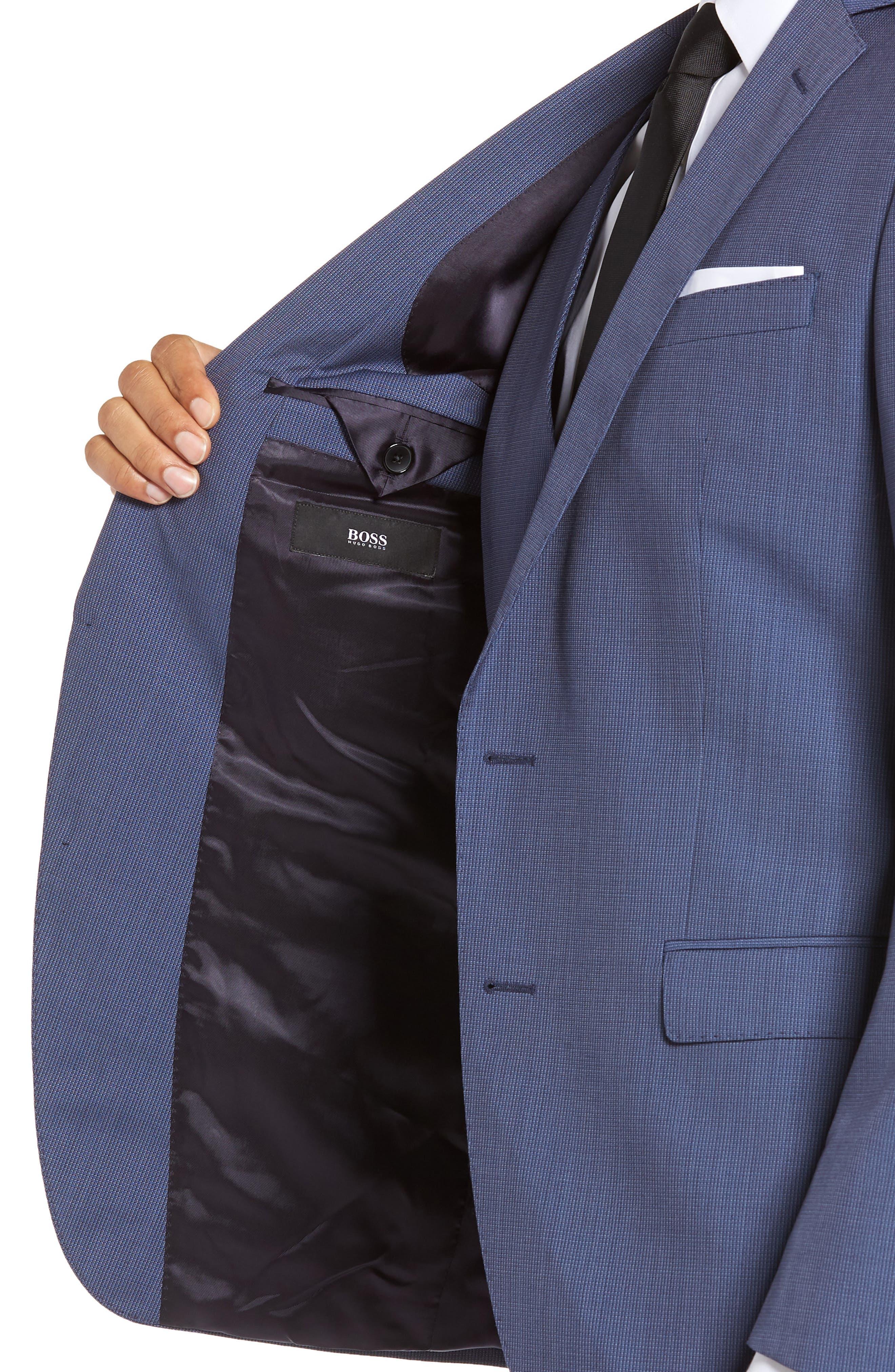 Huge/Genius Trim Fit Solid Three Piece Wool Suit,                             Alternate thumbnail 4, color,                             BLUE