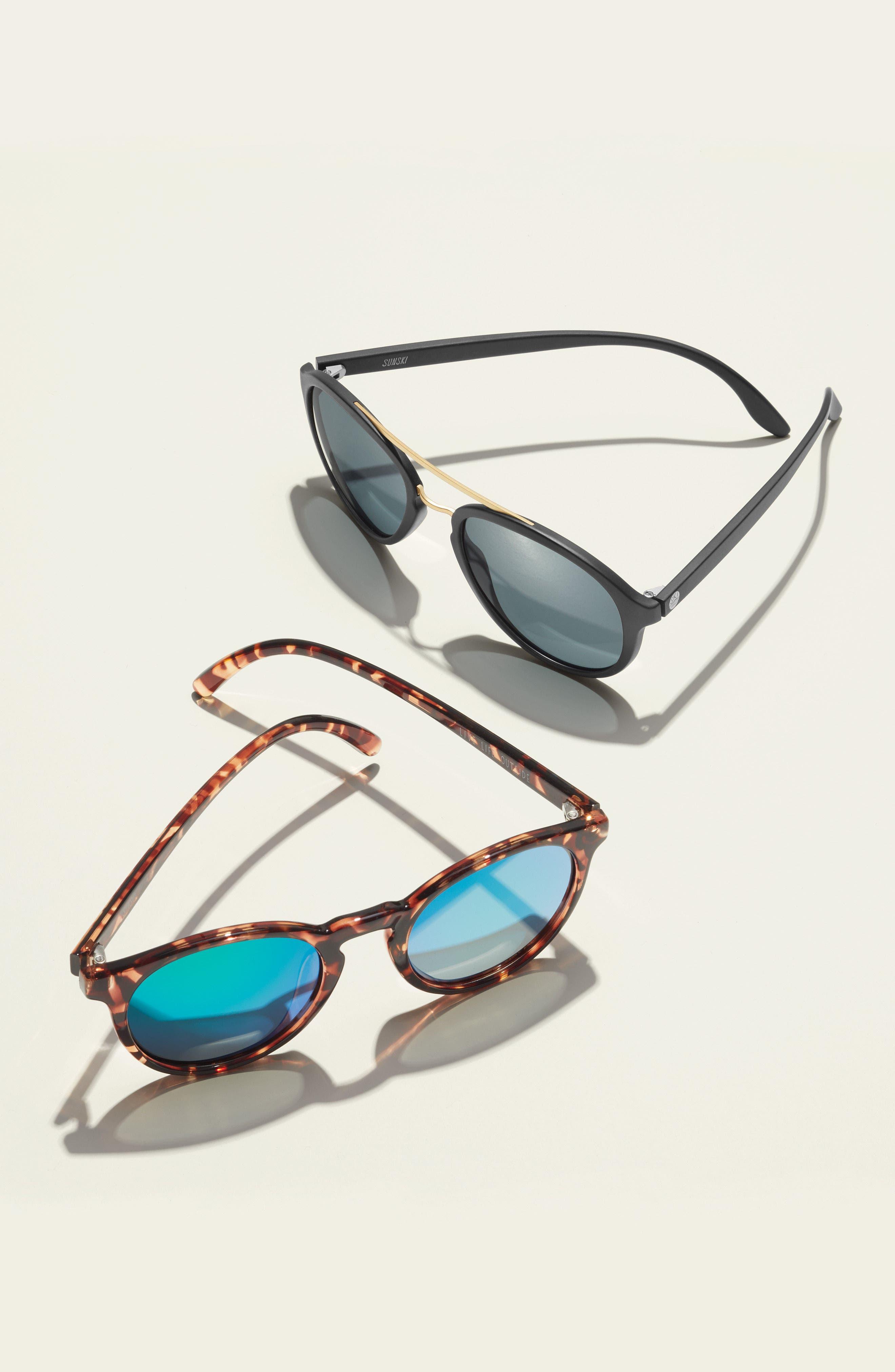 Plover 60mm Polarized Sunglasses,                             Alternate thumbnail 3, color,                             BLACK/ SLATE