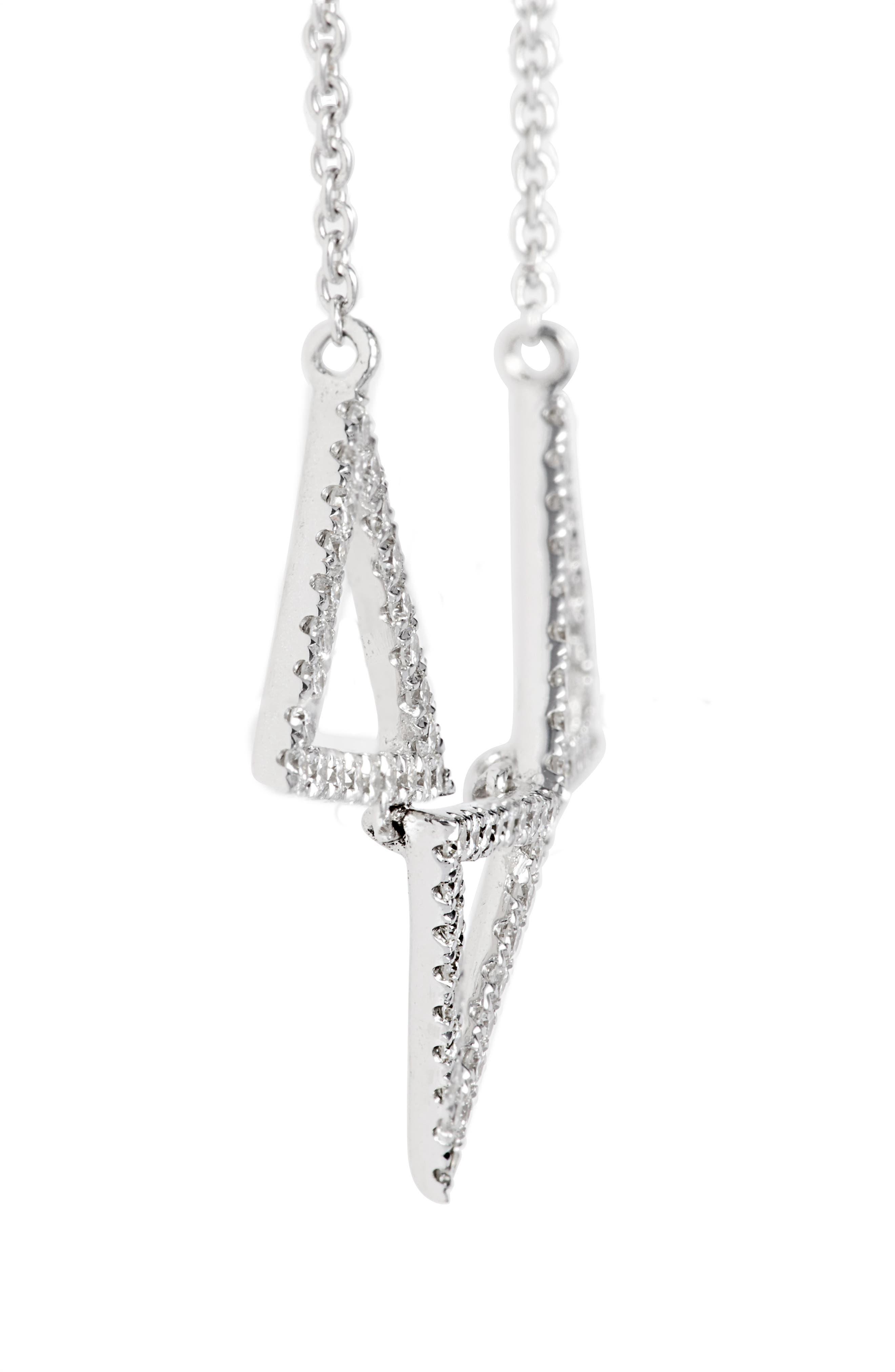 Three Triangle Diamond Pendant Necklace,                             Alternate thumbnail 4, color,                             WHITE GOLD