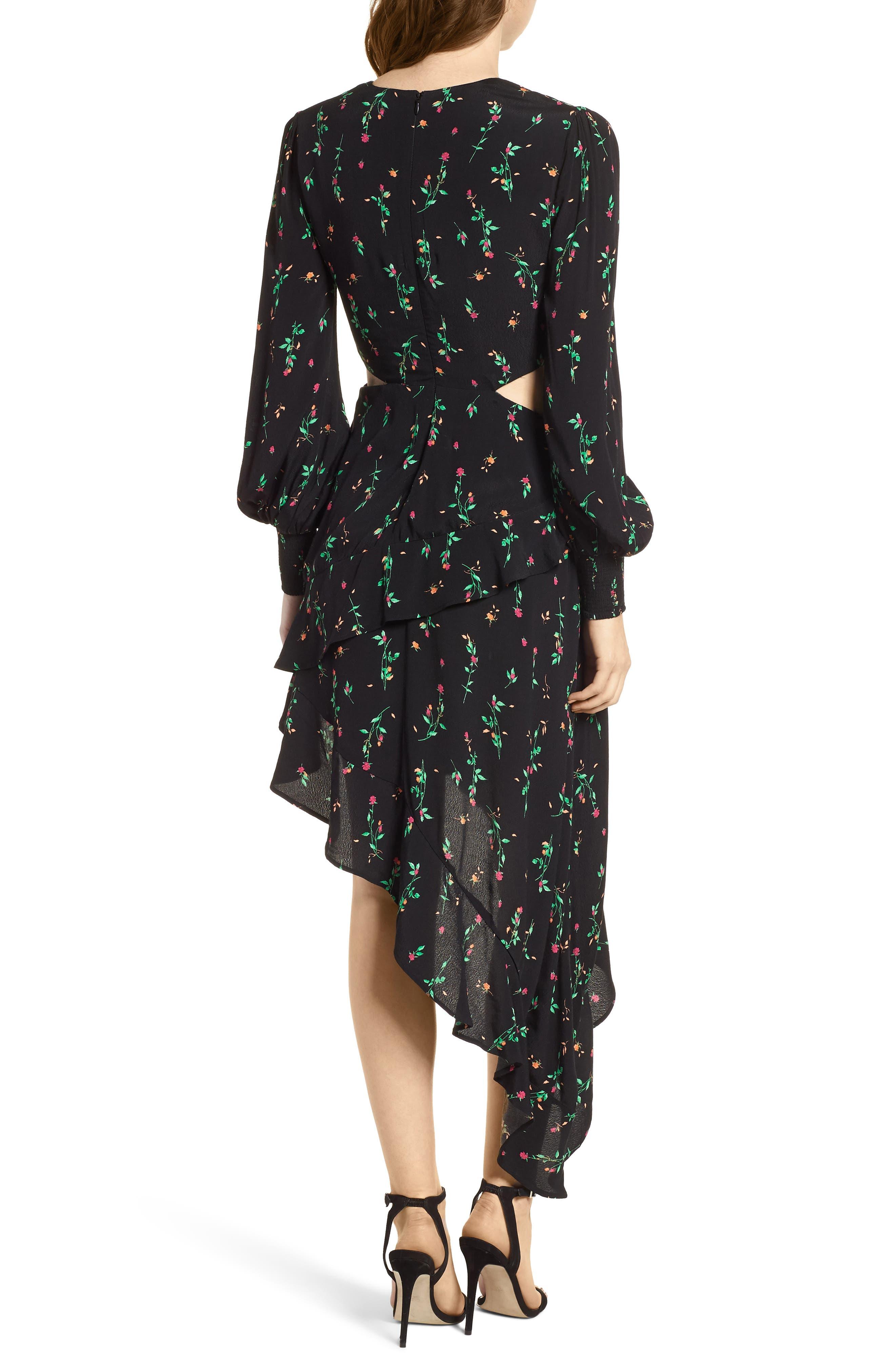 Mabel Cutout Asymmetrical Dress,                             Alternate thumbnail 2, color,                             001