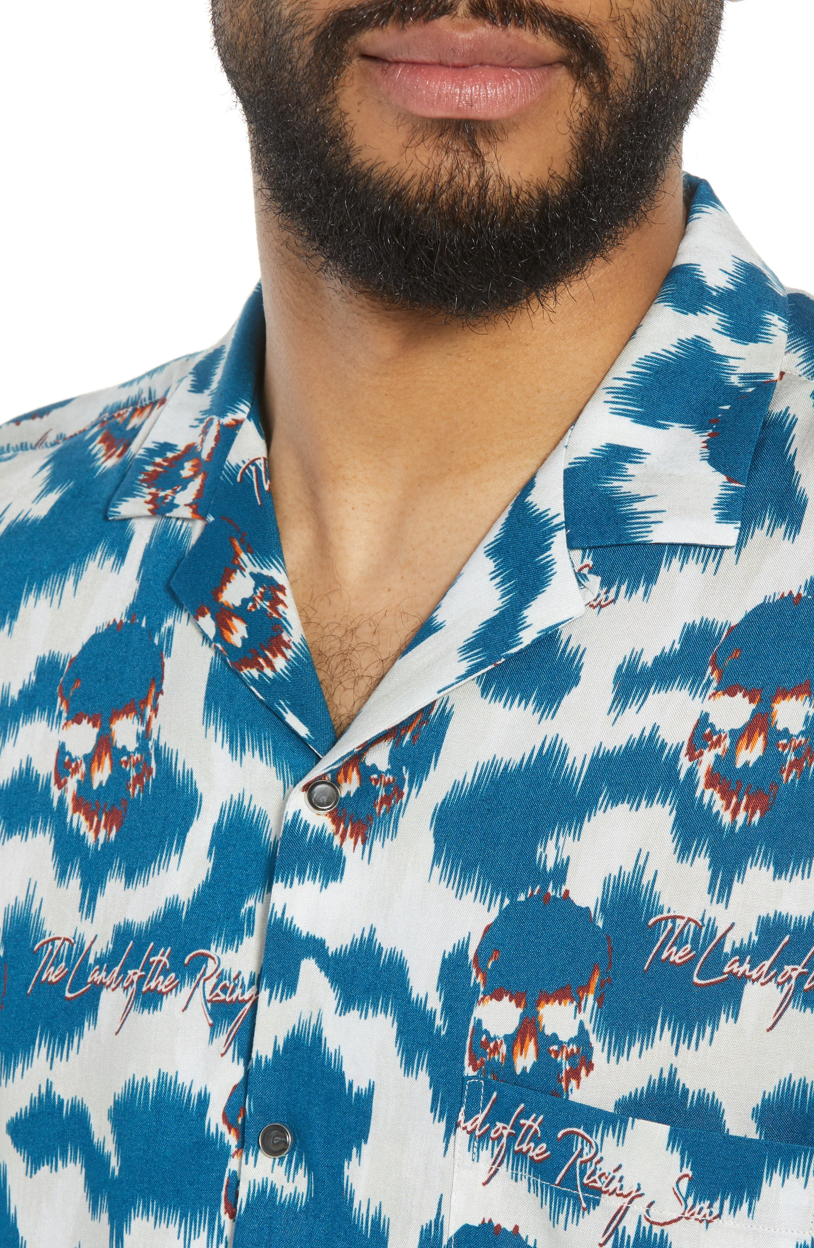 THE KOOPLES,                             Regular Fit Hawaiian Shirt,                             Alternate thumbnail 4, color,                             400