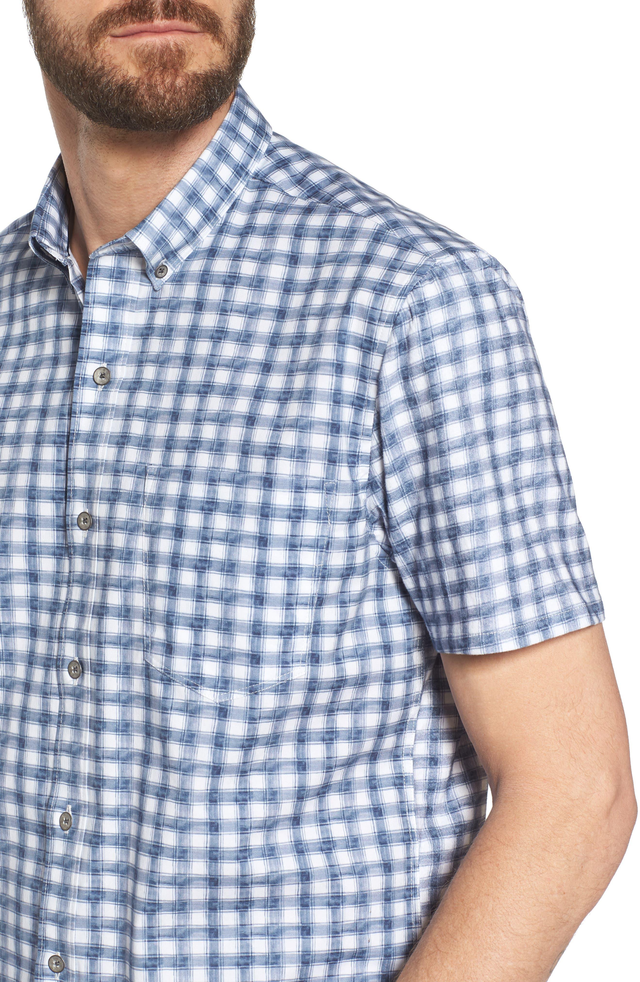 Watercolor Slim Fit Stretch Short Sleeve Sport Shirt,                             Alternate thumbnail 4, color,                             020
