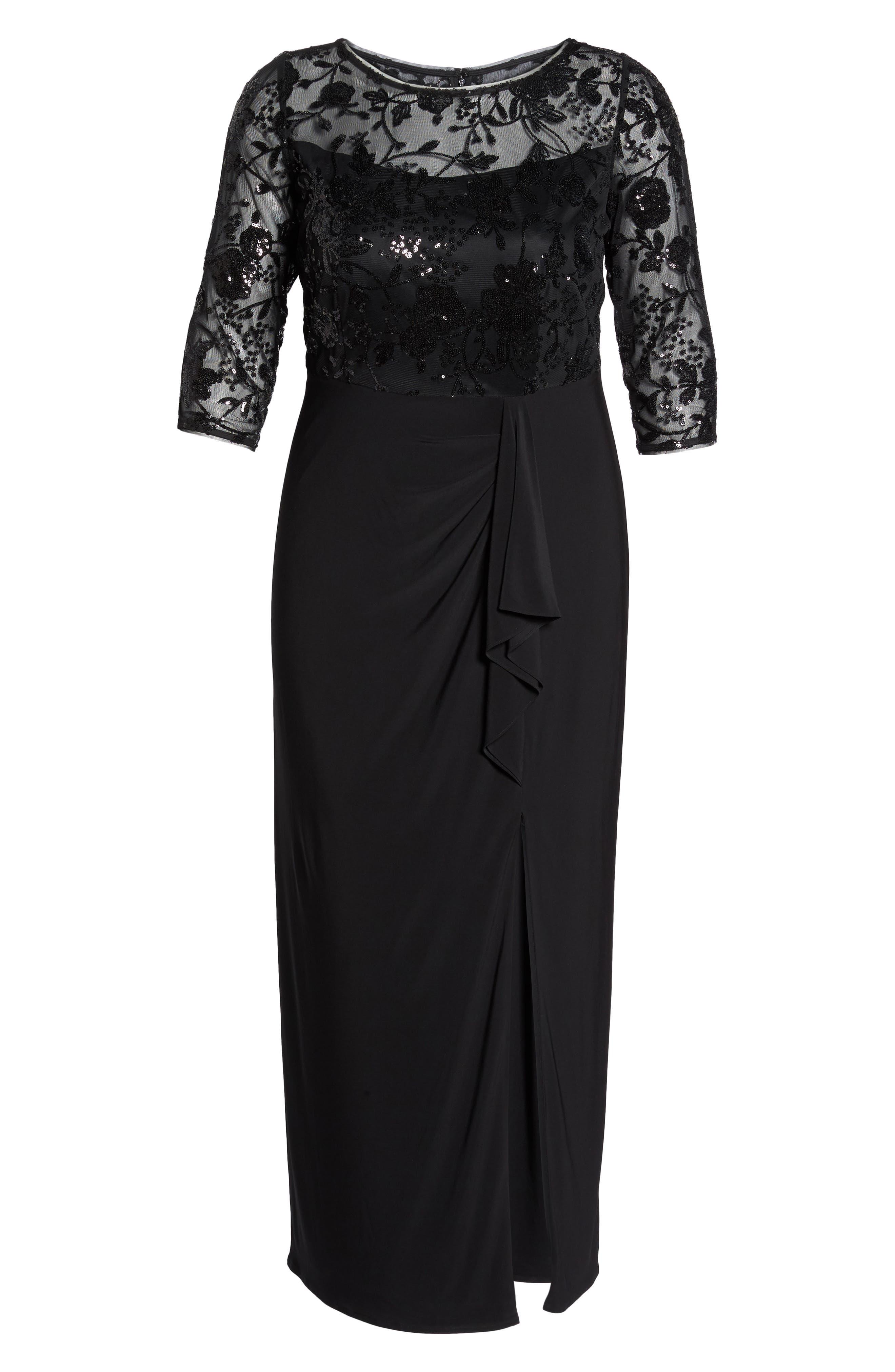 Sequin Mesh & Jersey Column Gown,                             Alternate thumbnail 6, color,                             001