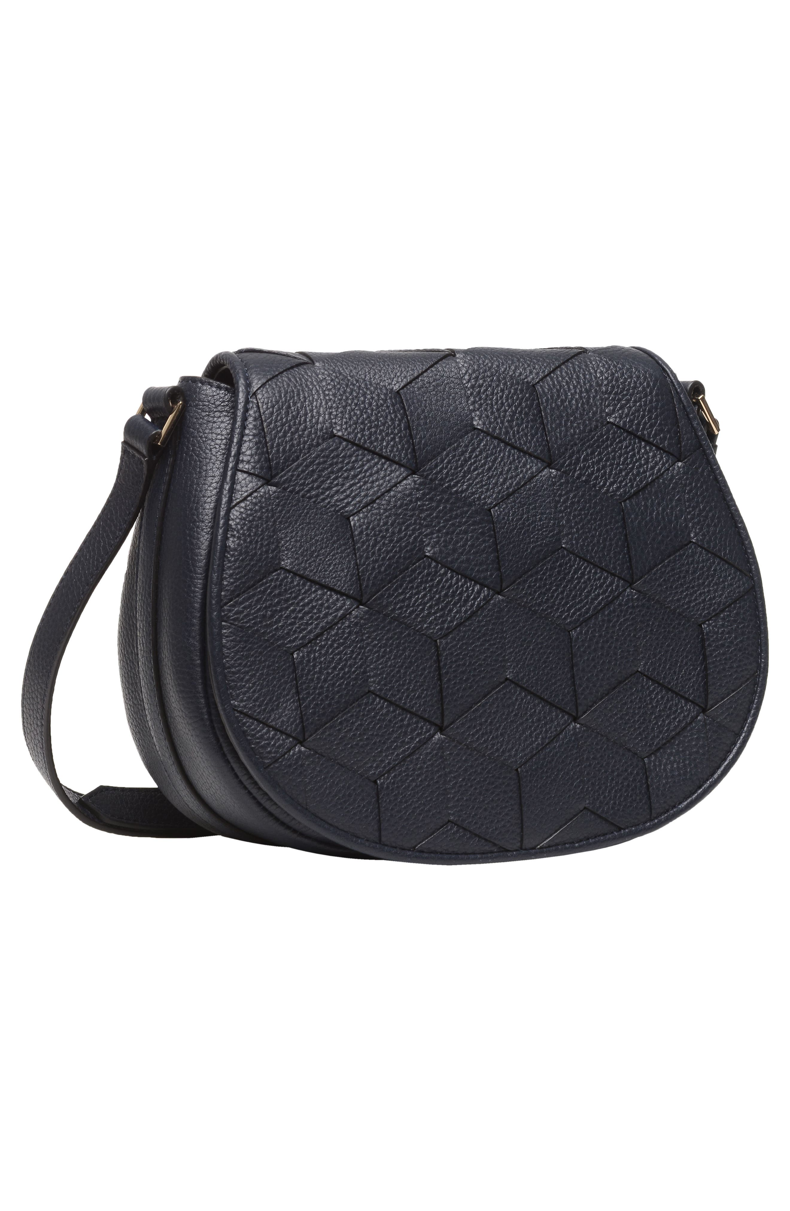 Escapade Pebbled Leather Saddle Bag,                             Alternate thumbnail 4, color,                             NAVY