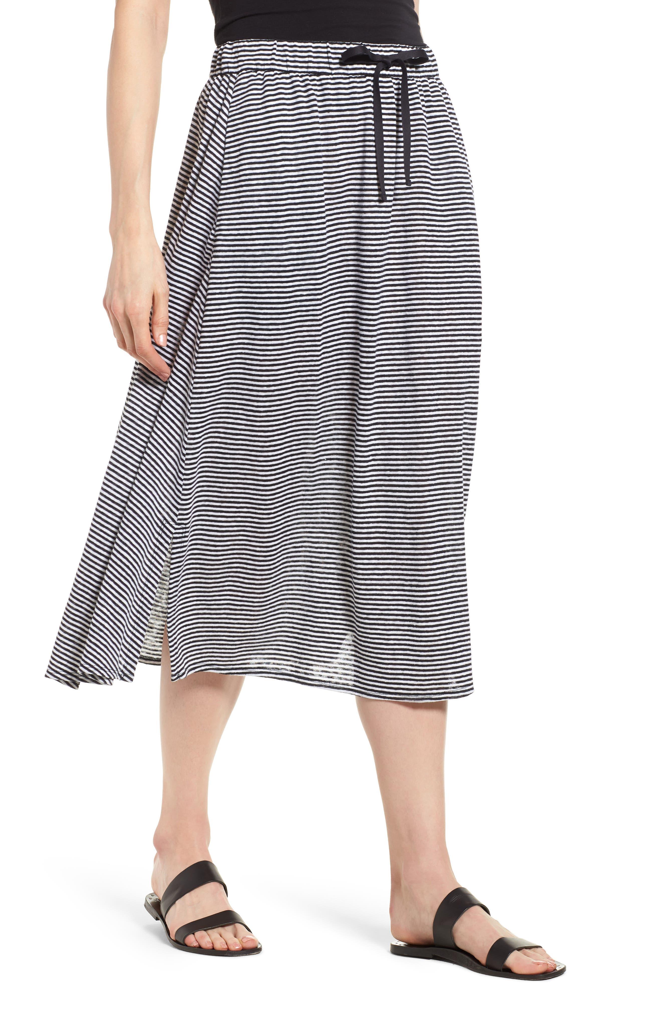 Flared Stripe Organic Linen Skirt,                             Main thumbnail 1, color,