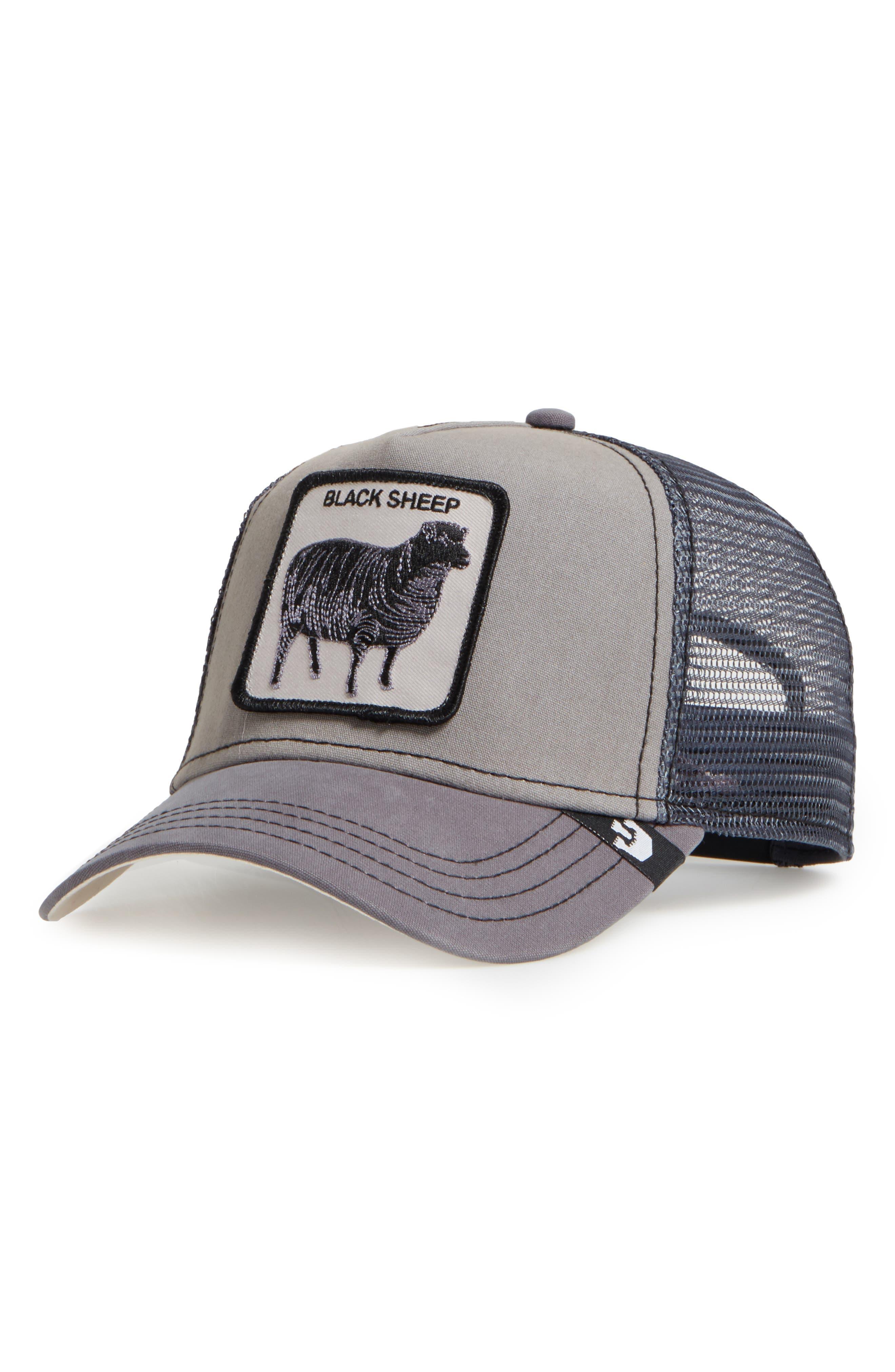 'Shades of Black' Mesh Trucker Hat,                             Main thumbnail 1, color,                             GREY