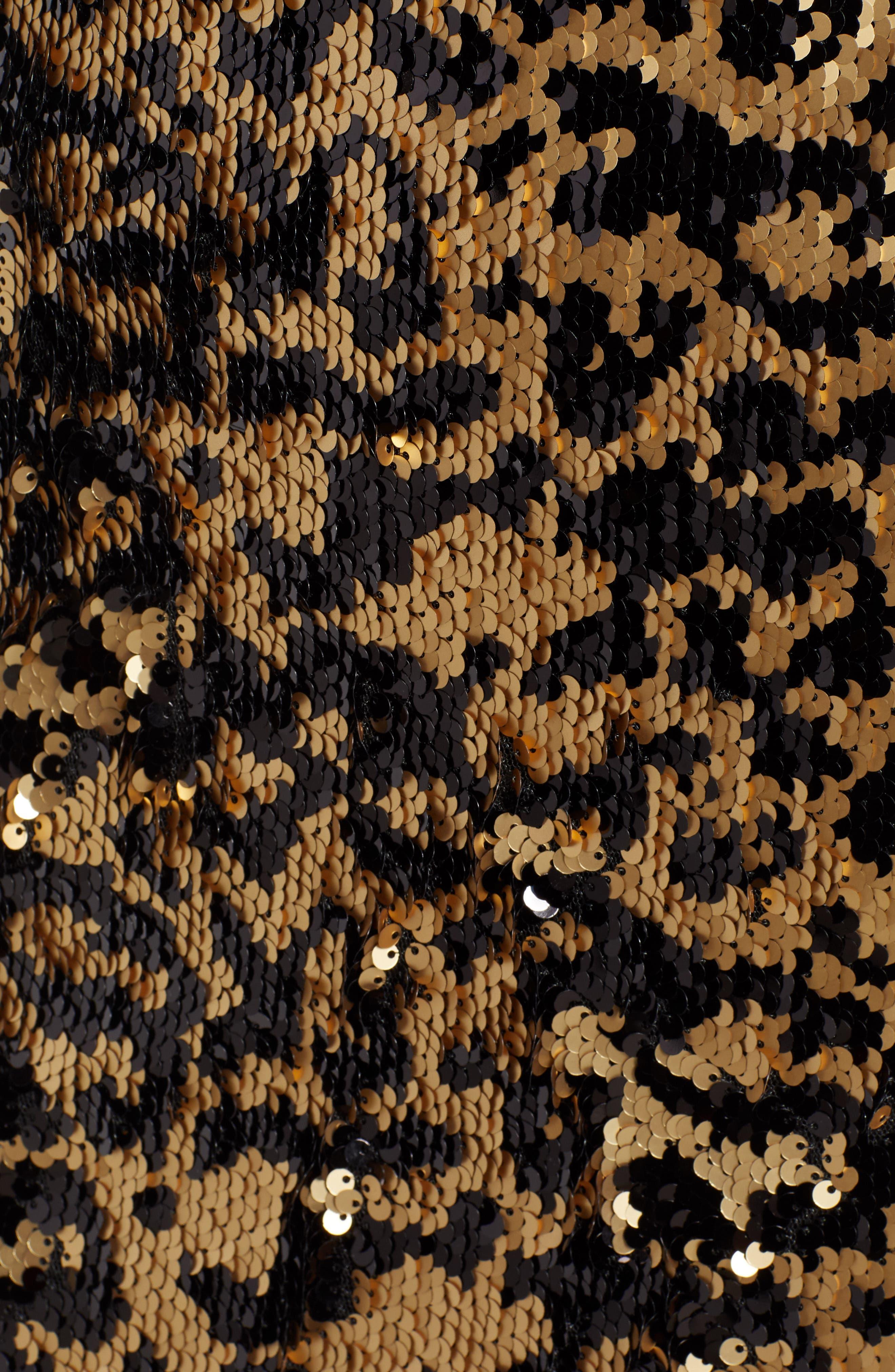 Leopard Sequin Dress,                             Alternate thumbnail 6, color,                             BLACK MULTI