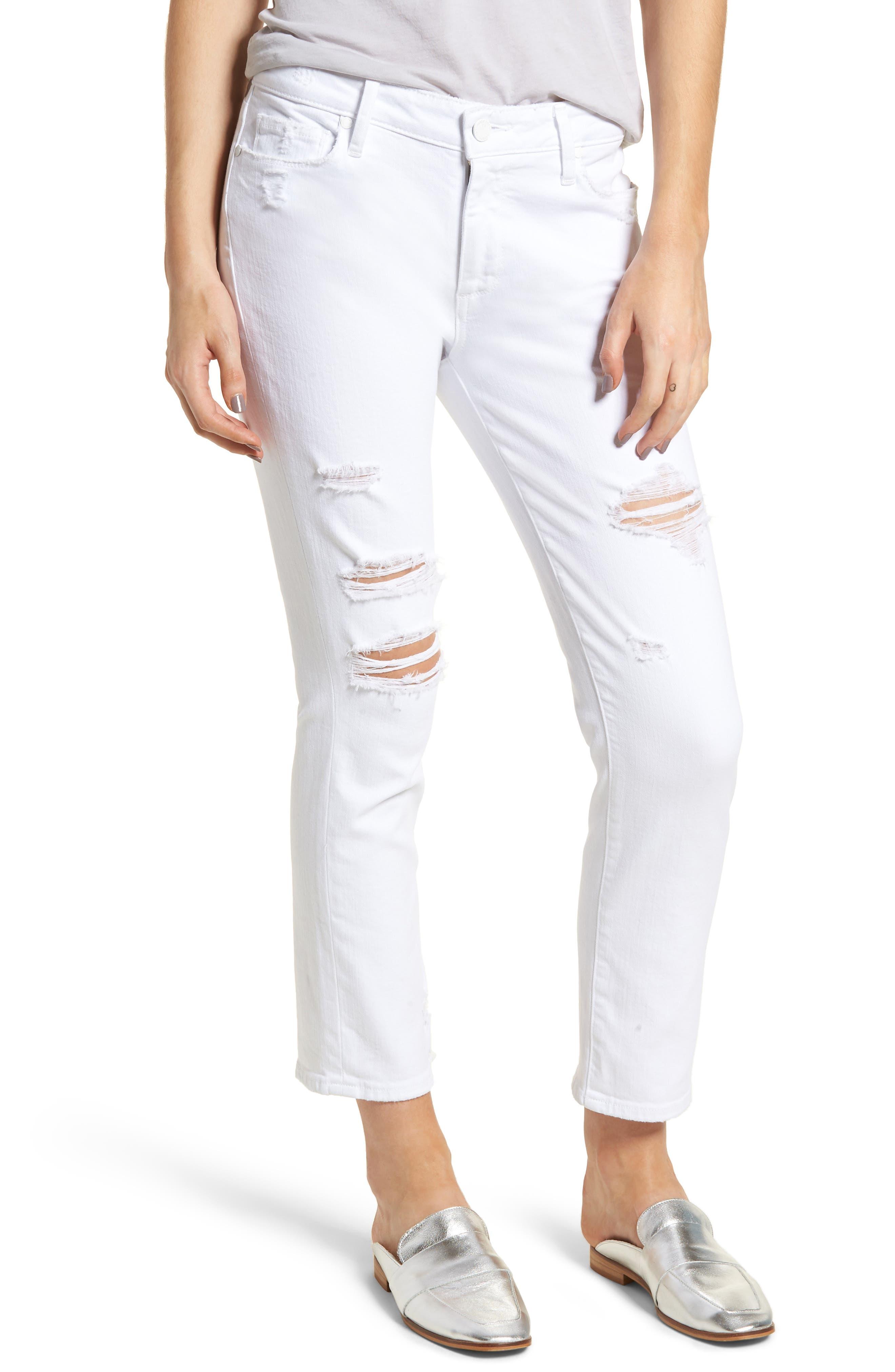 Brigitte Ripped Crop Boyfriend Jeans,                             Main thumbnail 1, color,                             100