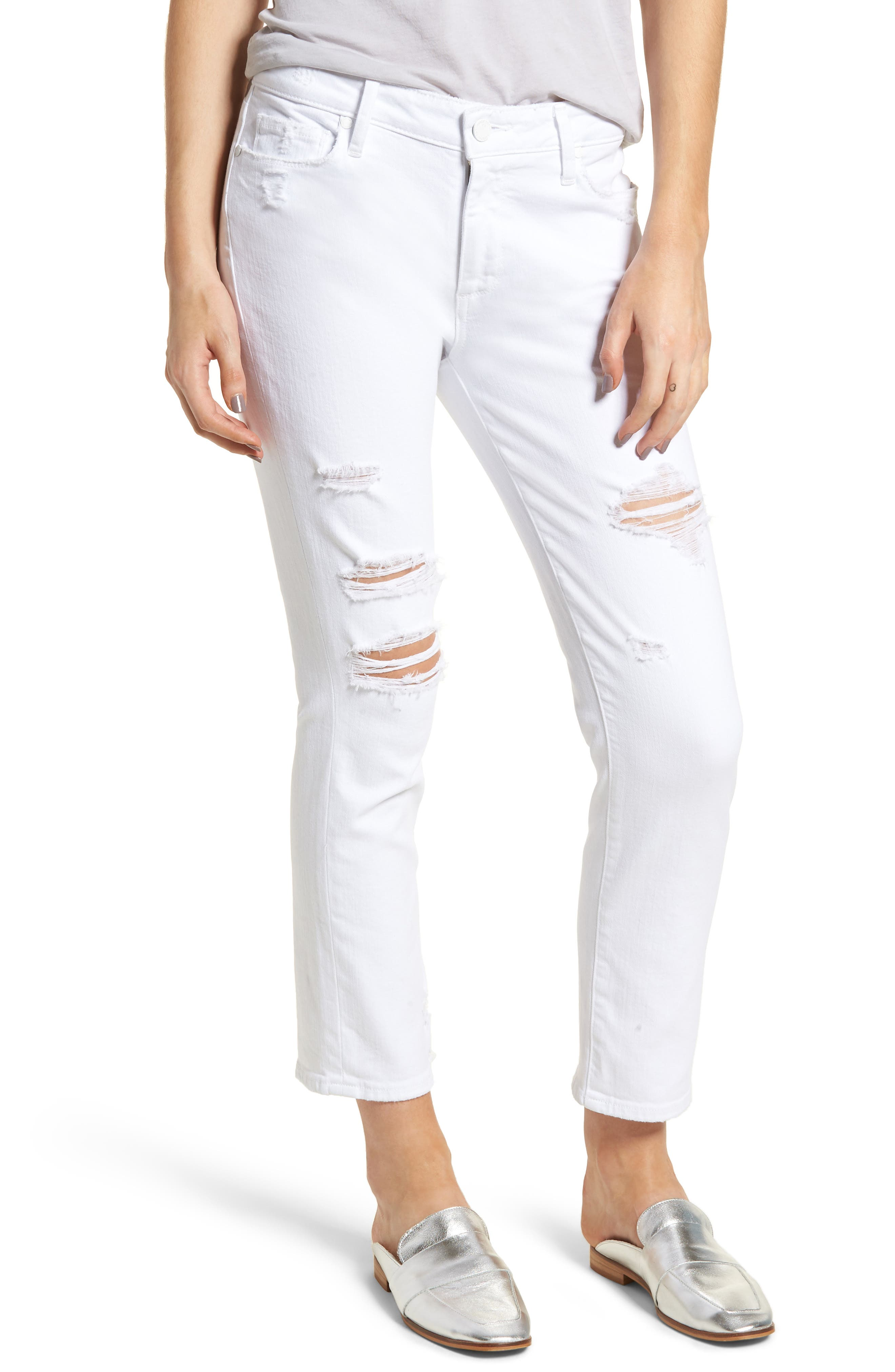 Brigitte Ripped Crop Boyfriend Jeans,                         Main,                         color, 100