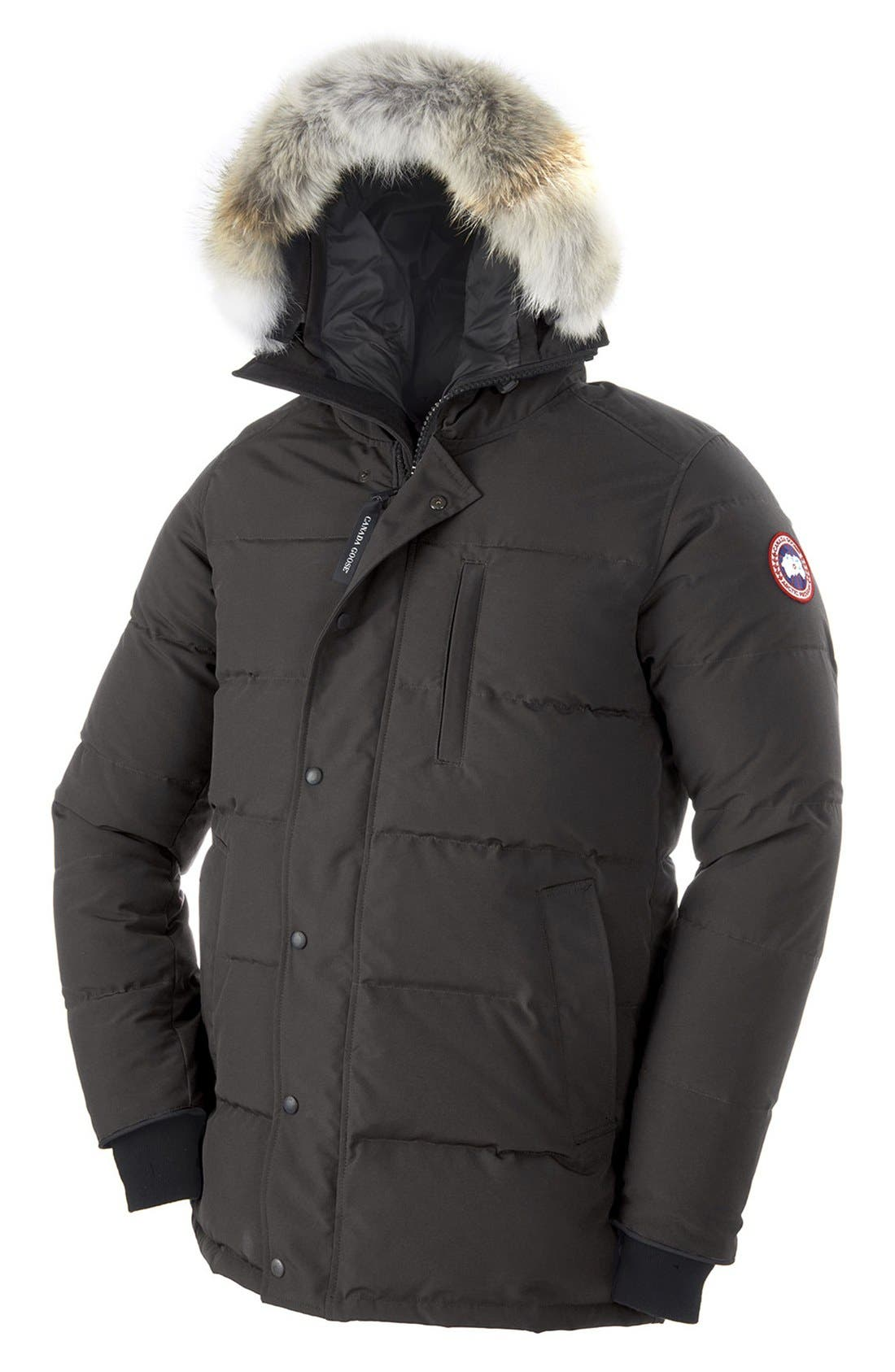 'Carson' Slim Fit Hooded Packable Parka with Genuine Coyote Fur Trim,                             Alternate thumbnail 8, color,                             GRAPHITE